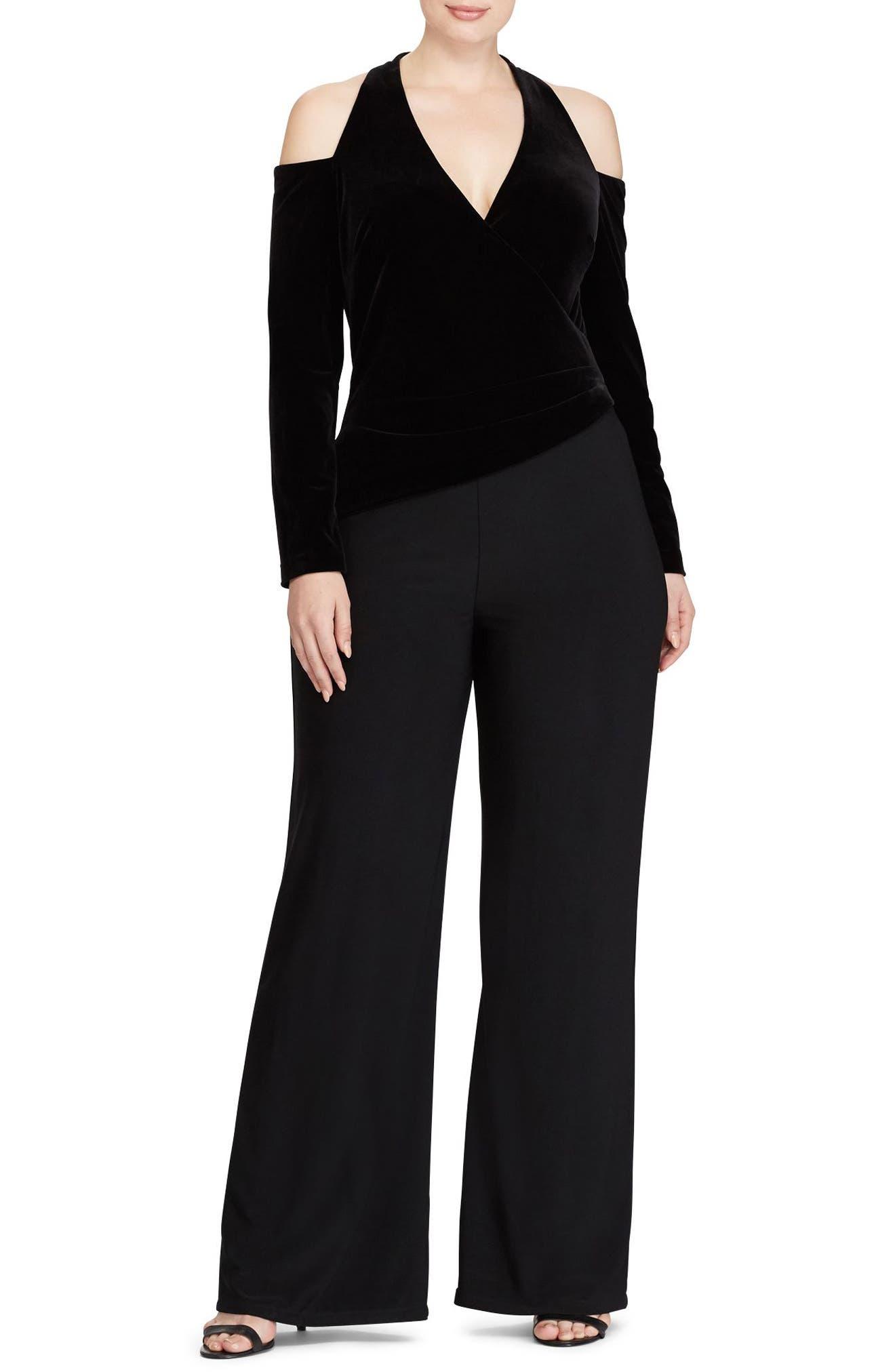 Stretch Velvet & Jersey Jumpsuit,                         Main,                         color, Black-Black