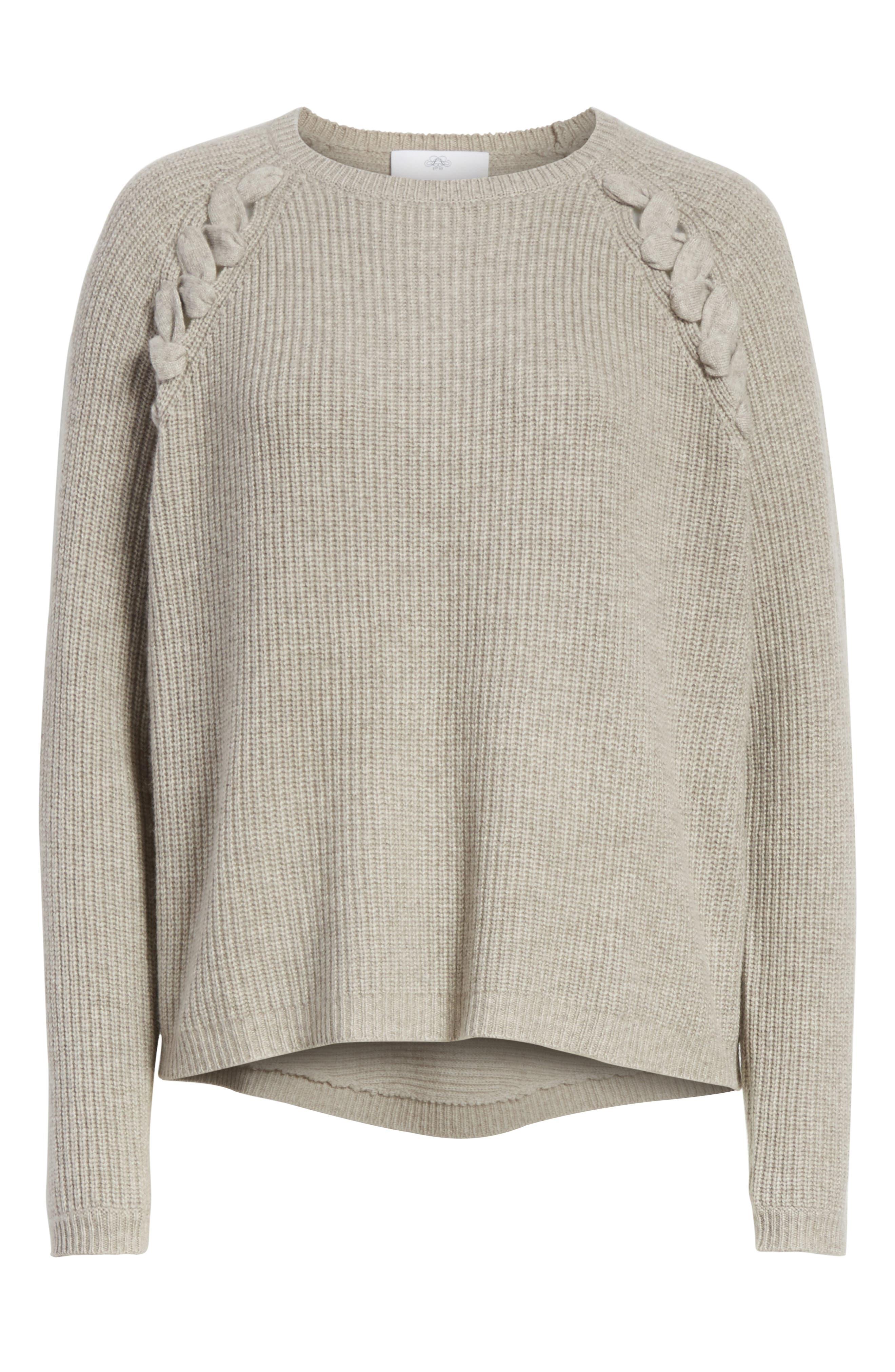 Alternate Image 6  - Allude Merino Wool & Cashmere Braid Detail Sweater