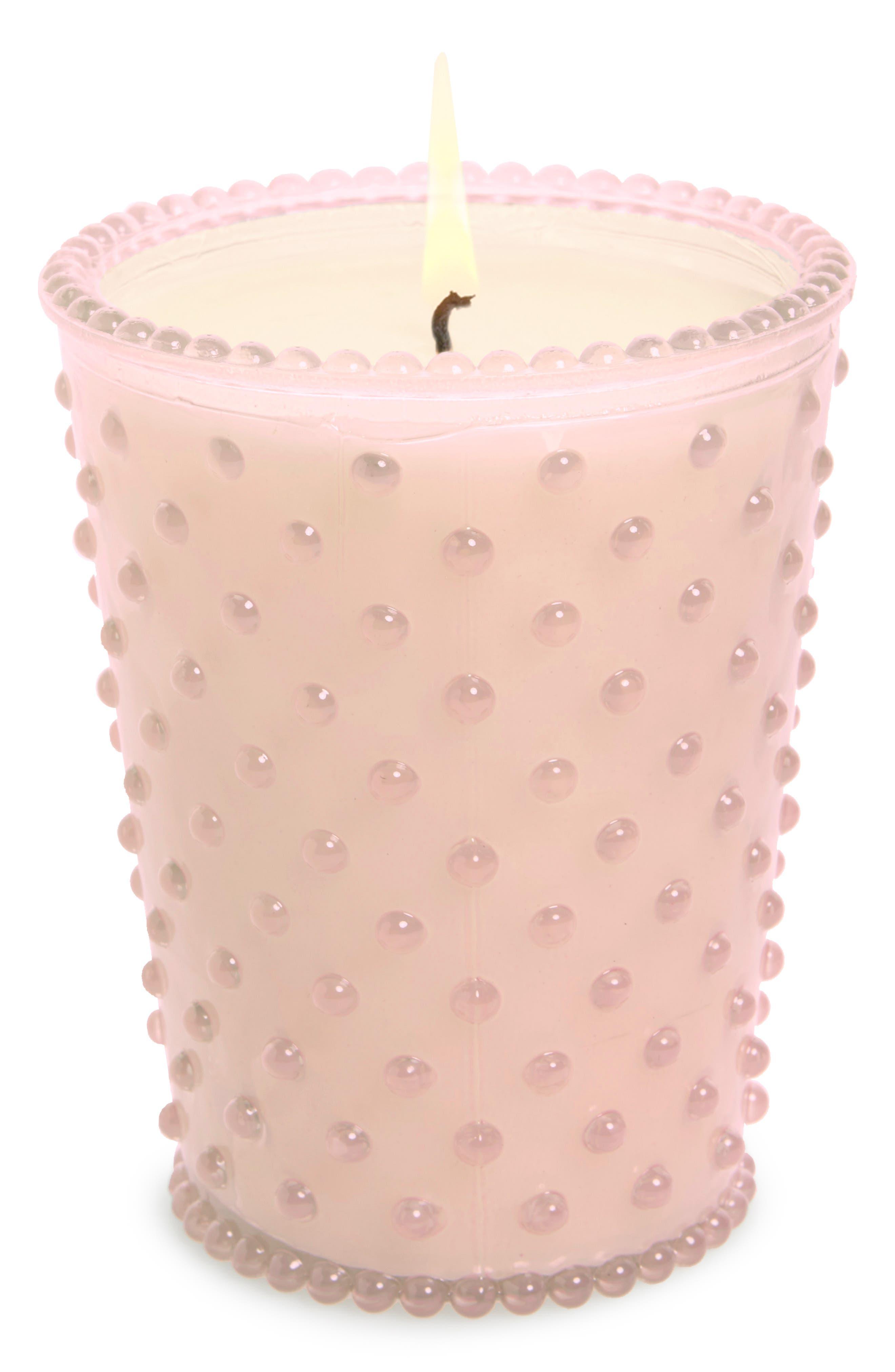 Hobnail Glass Candle,                             Main thumbnail 1, color,                             Beach Plum