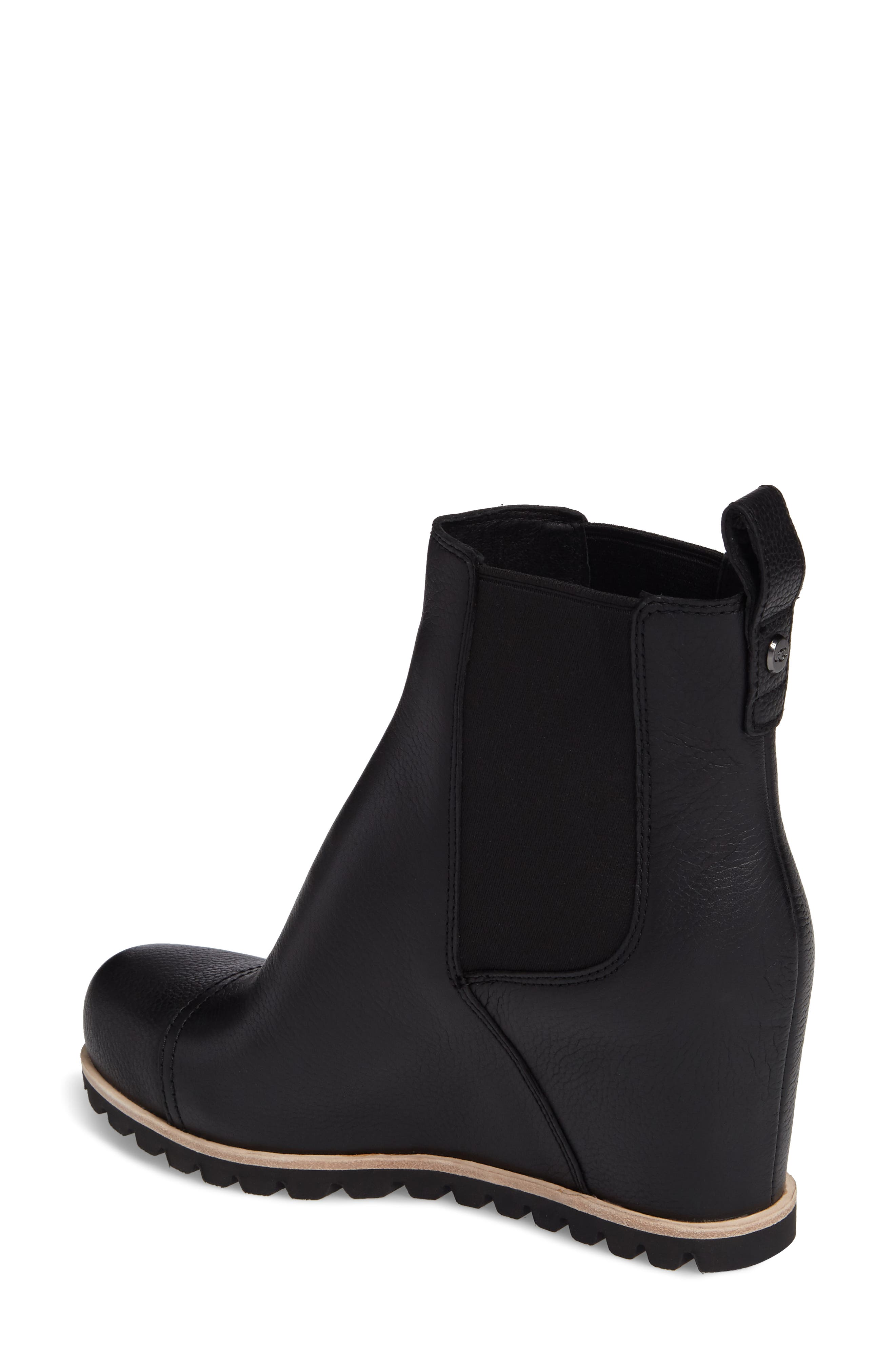 Pax Waterproof Wedge Boot,                             Alternate thumbnail 2, color,                             Black Leather