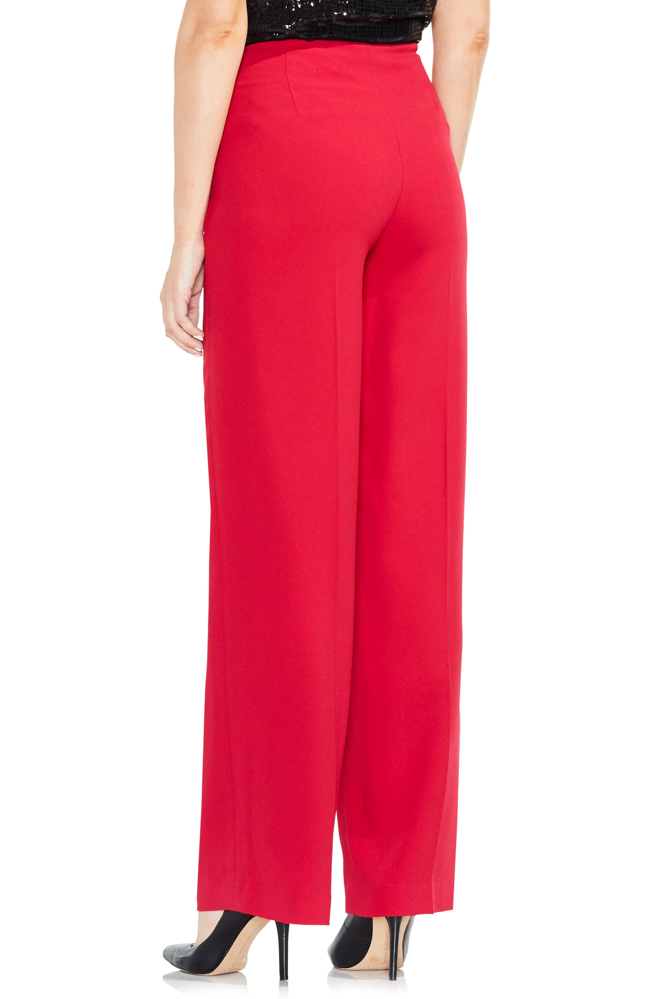 Wide Leg Pants,                             Alternate thumbnail 3, color,                             True Crimson