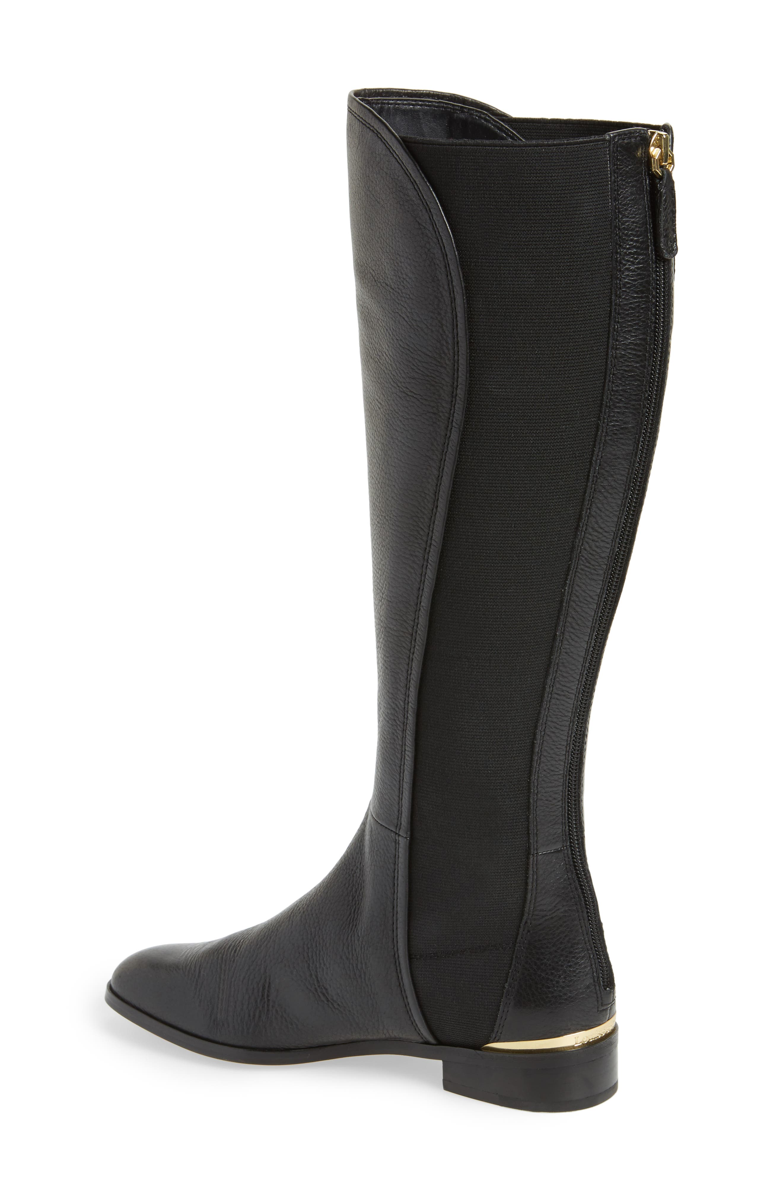 Vallery Elastic Back Knee High Boot,                             Alternate thumbnail 2, color,                             Black Nappa Leather