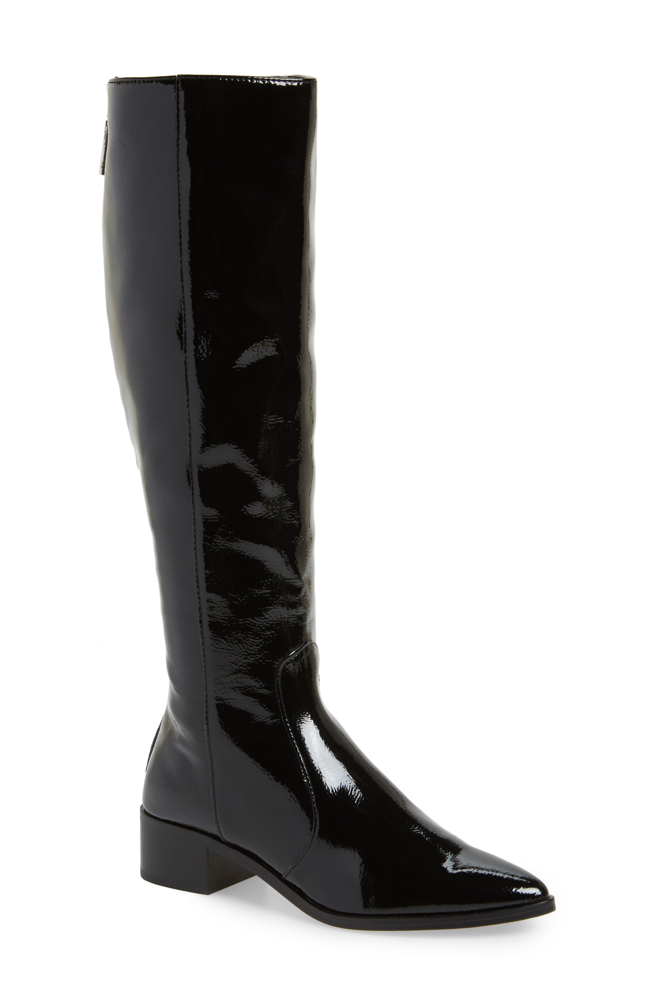 Morey Knee High Riding Boot,                             Main thumbnail 1, color,                             Onyx Patent