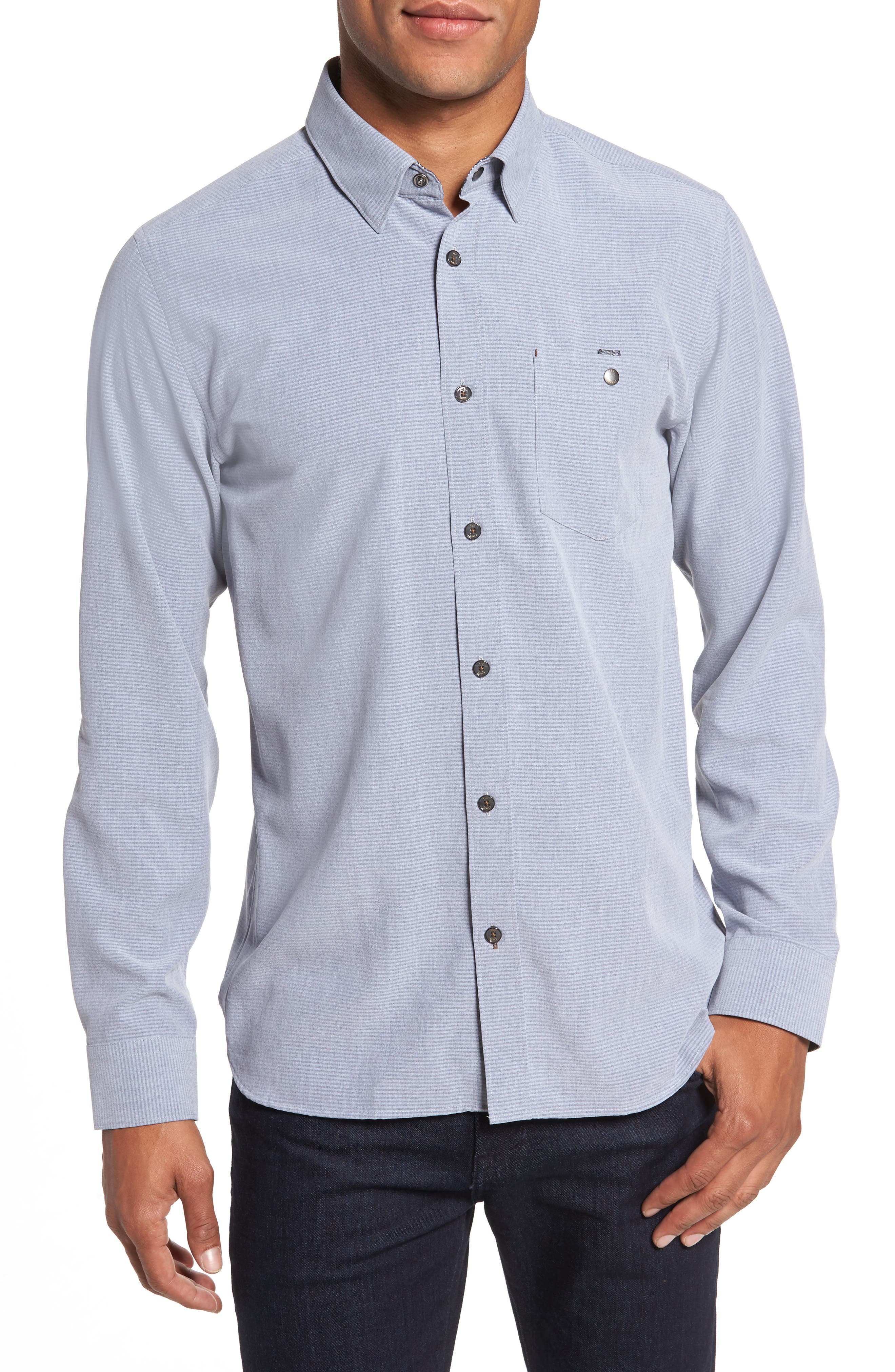 Mettro Slim Fit Horizontal Stripe Sport Shirt,                             Main thumbnail 1, color,                             Grey