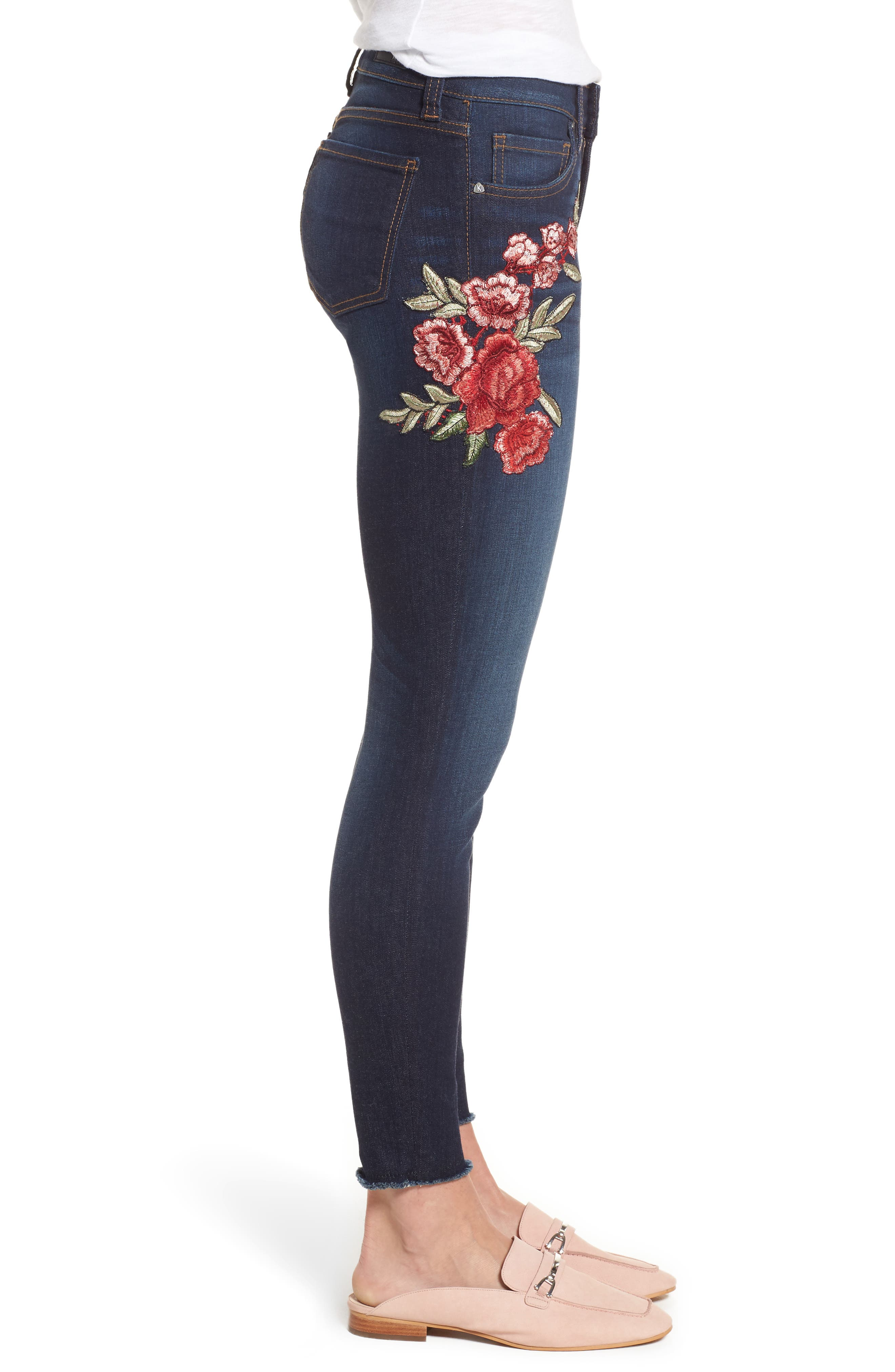 Alternate Image 4  - KUT from the Kloth Connie Embroidered Skinny Ankle Jeans (Composure)
