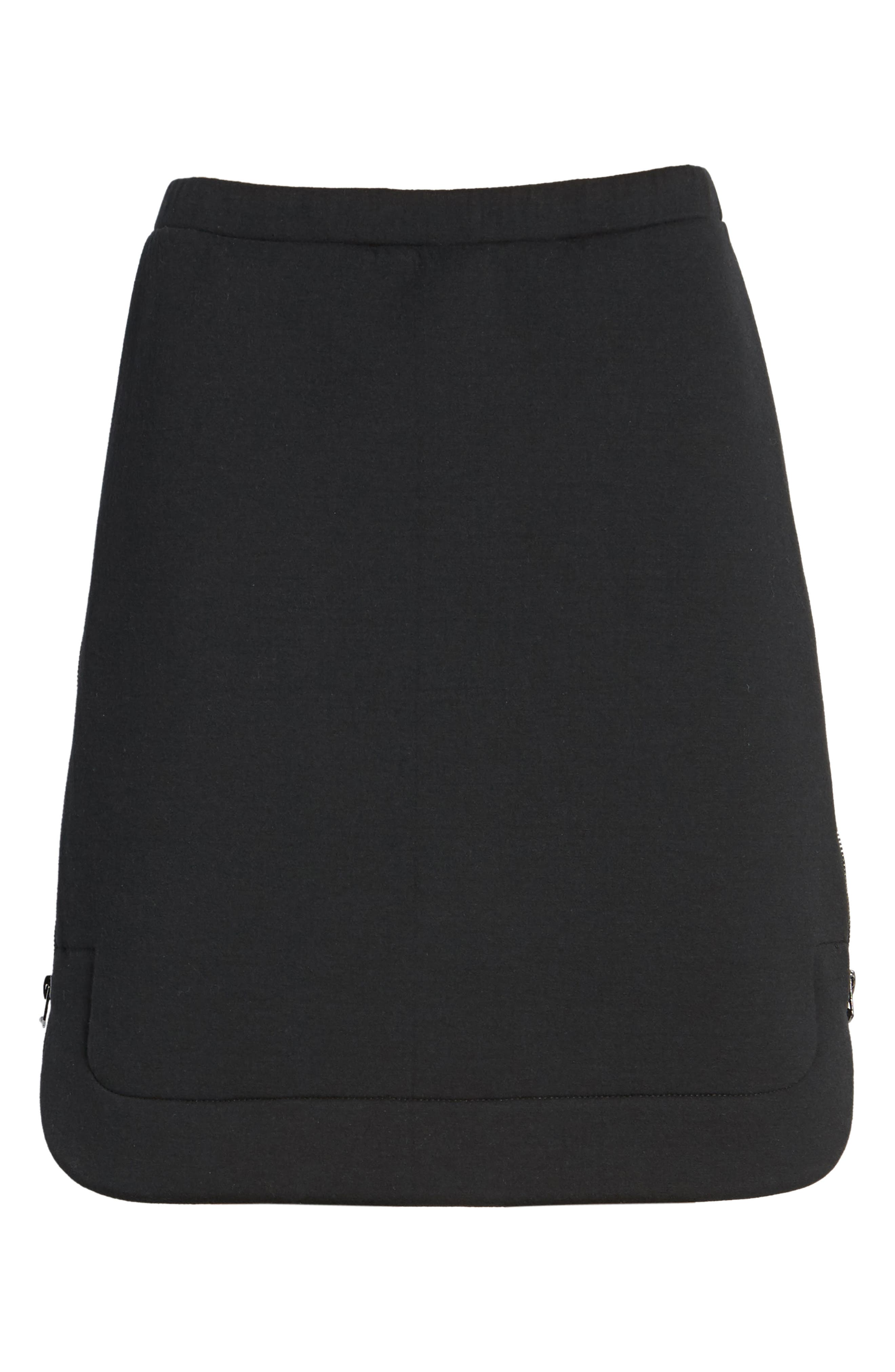 Side Zip Neoprene Skirt,                             Alternate thumbnail 6, color,                             Black