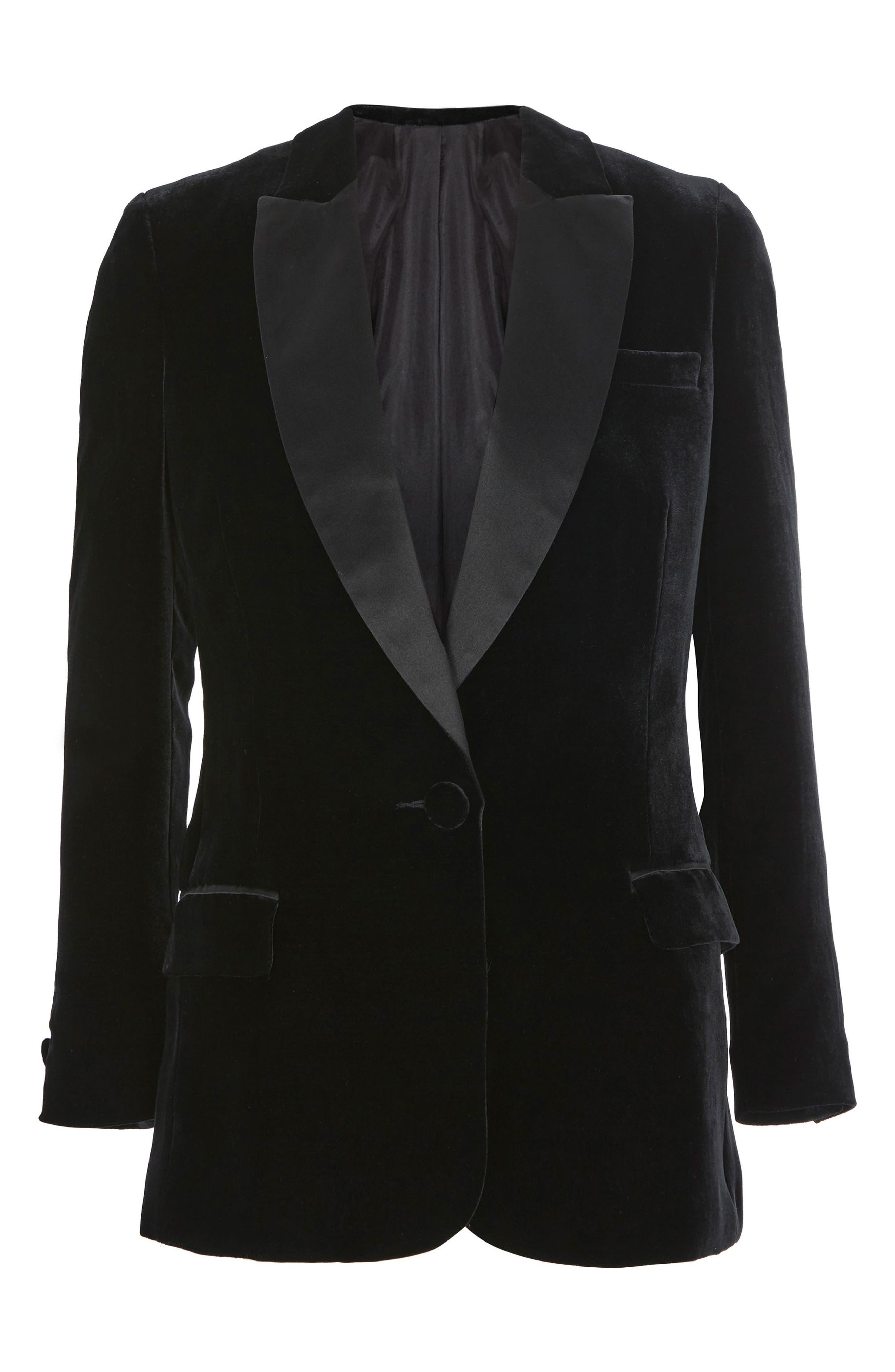 Topshop Velvet Tuxedo Blazer