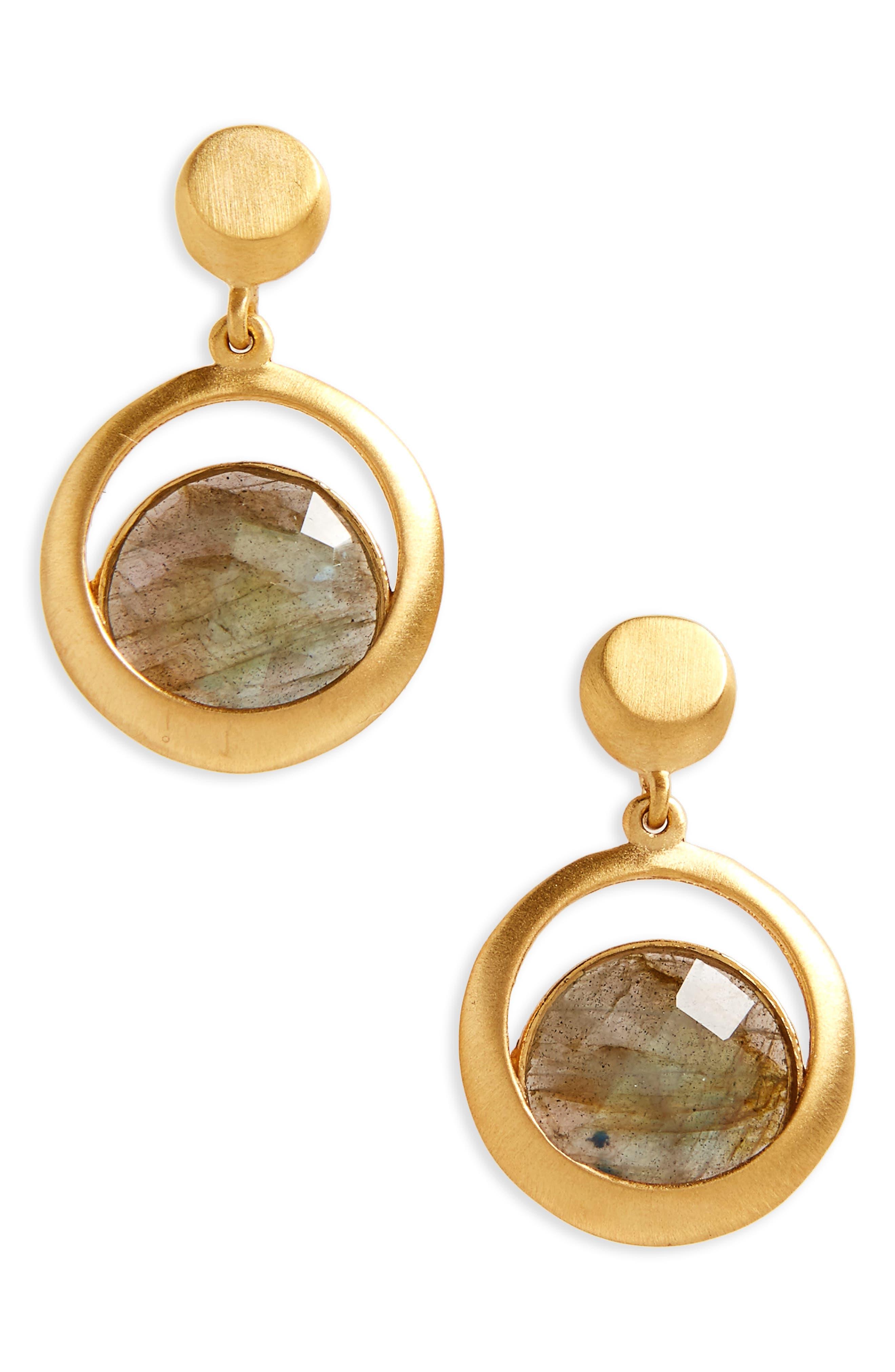 Lapa Semiprecious Stone Drop Earrings,                             Main thumbnail 1, color,                             Labradorite/ Gold