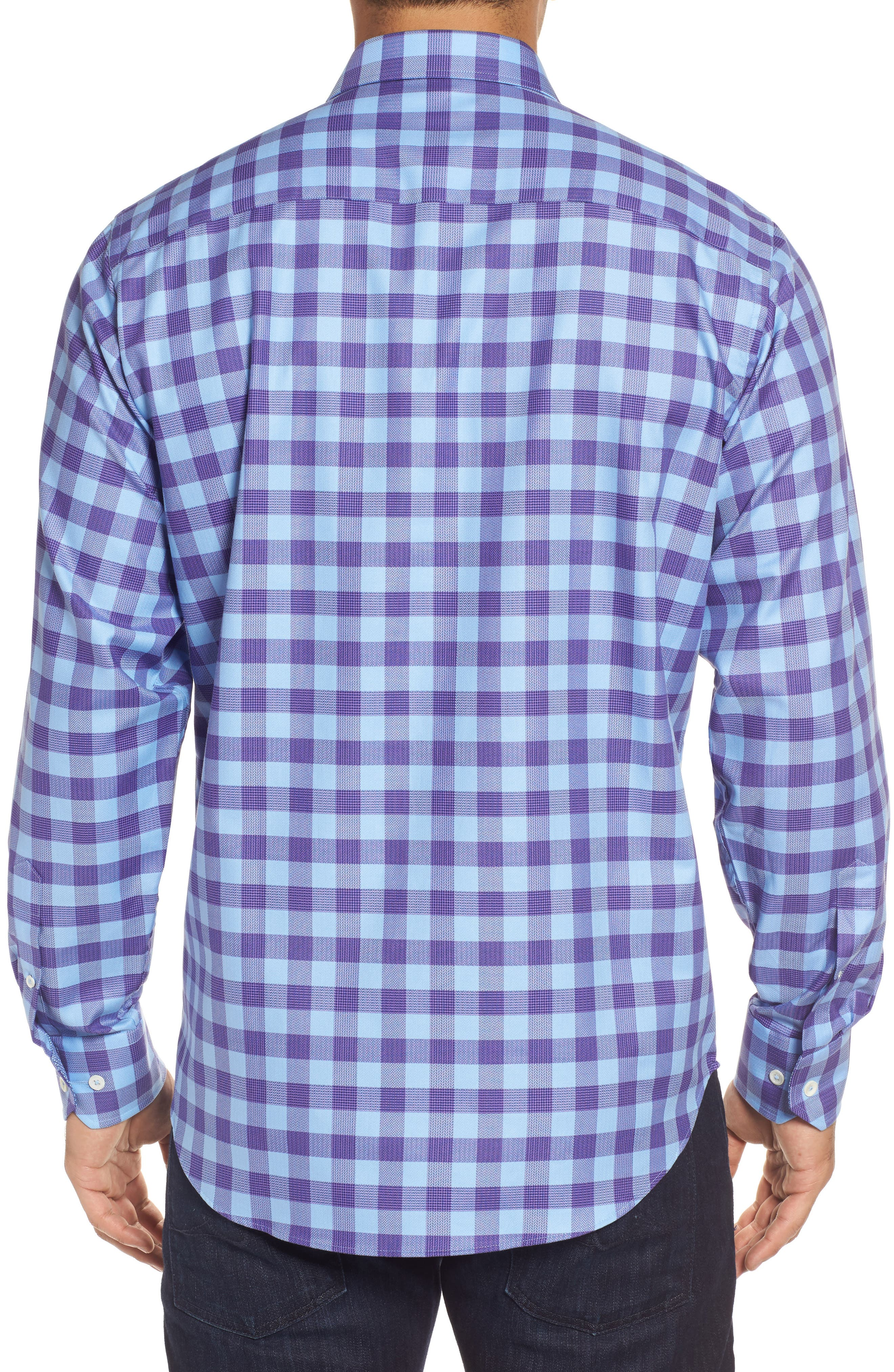 Classic Fit Woven Check Sport Shirt,                             Alternate thumbnail 2, color,                             Orchid