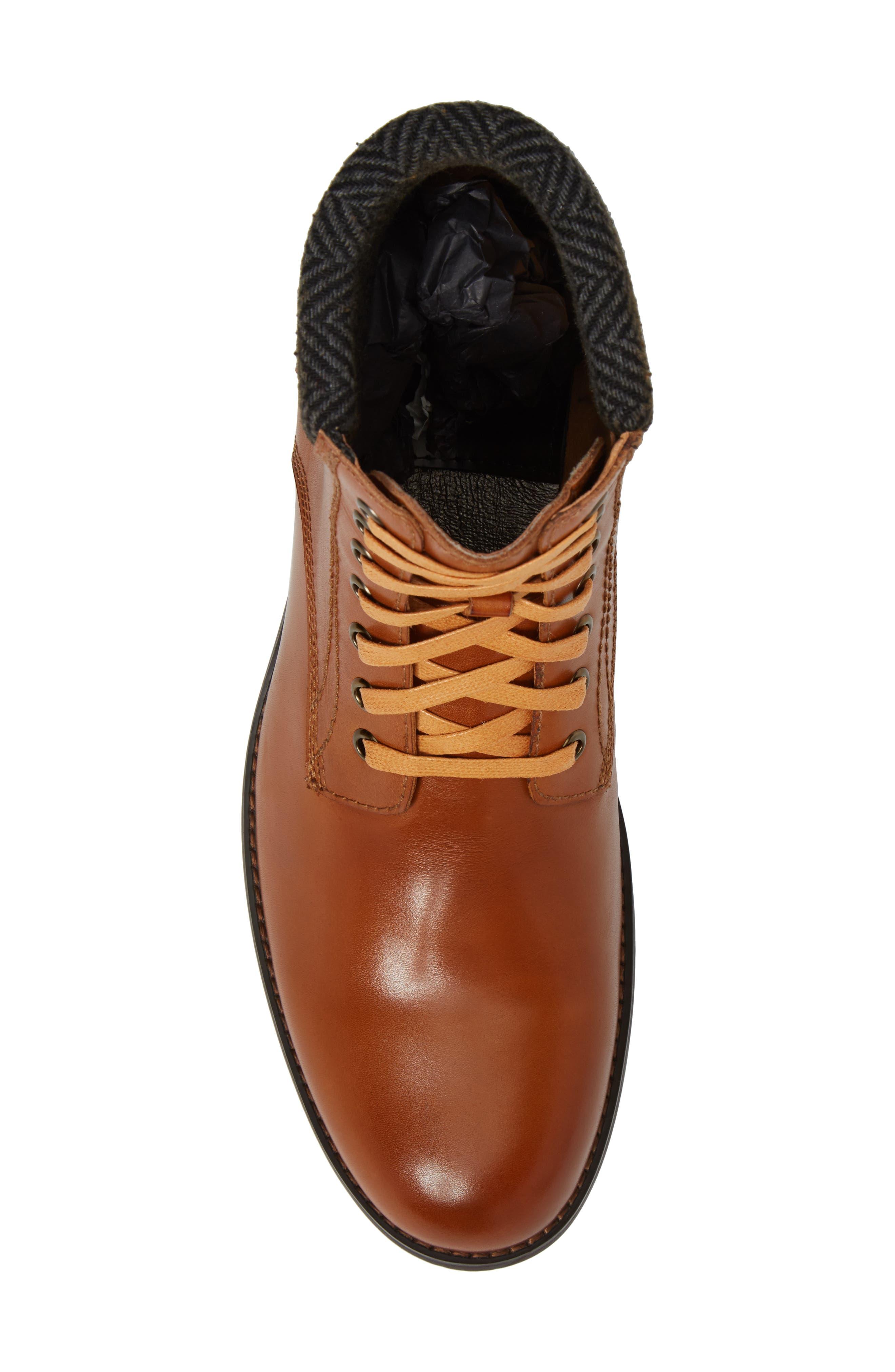 Saar Plain Toe Boot,                             Alternate thumbnail 5, color,                             Cognac Leather