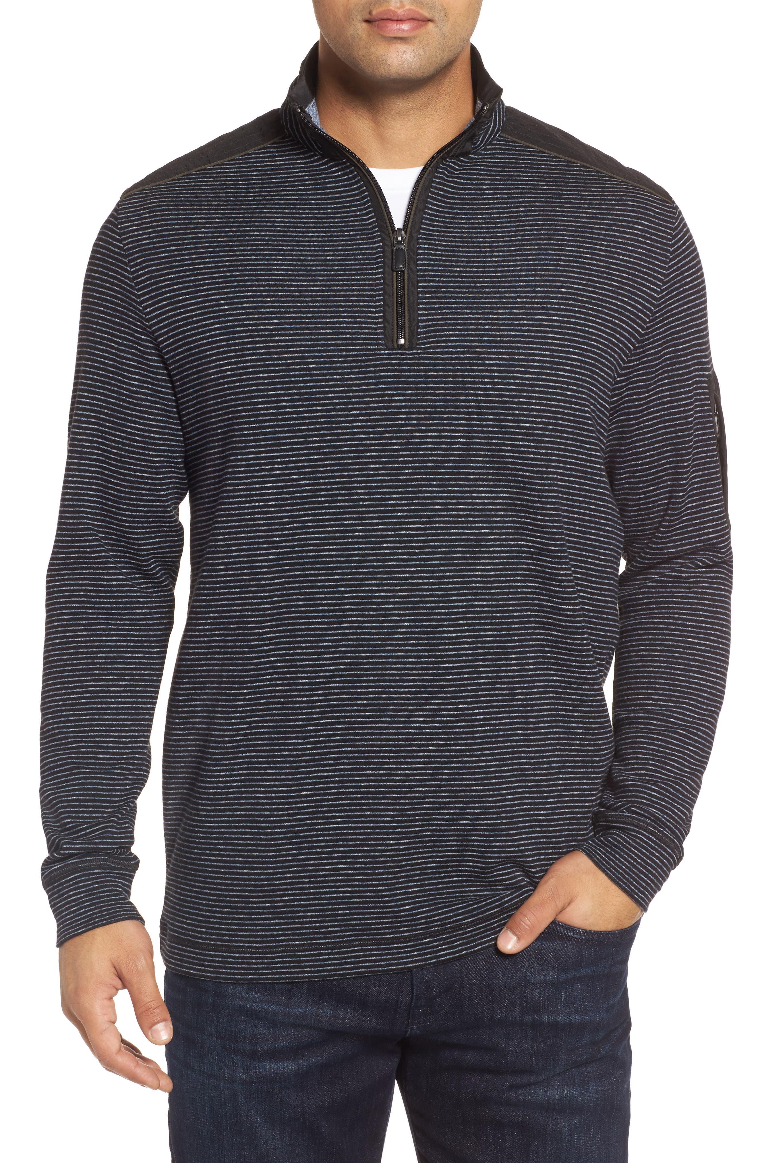 Classic Fit Pinstripe Quarter Zip Pullover,                         Main,                         color, Black