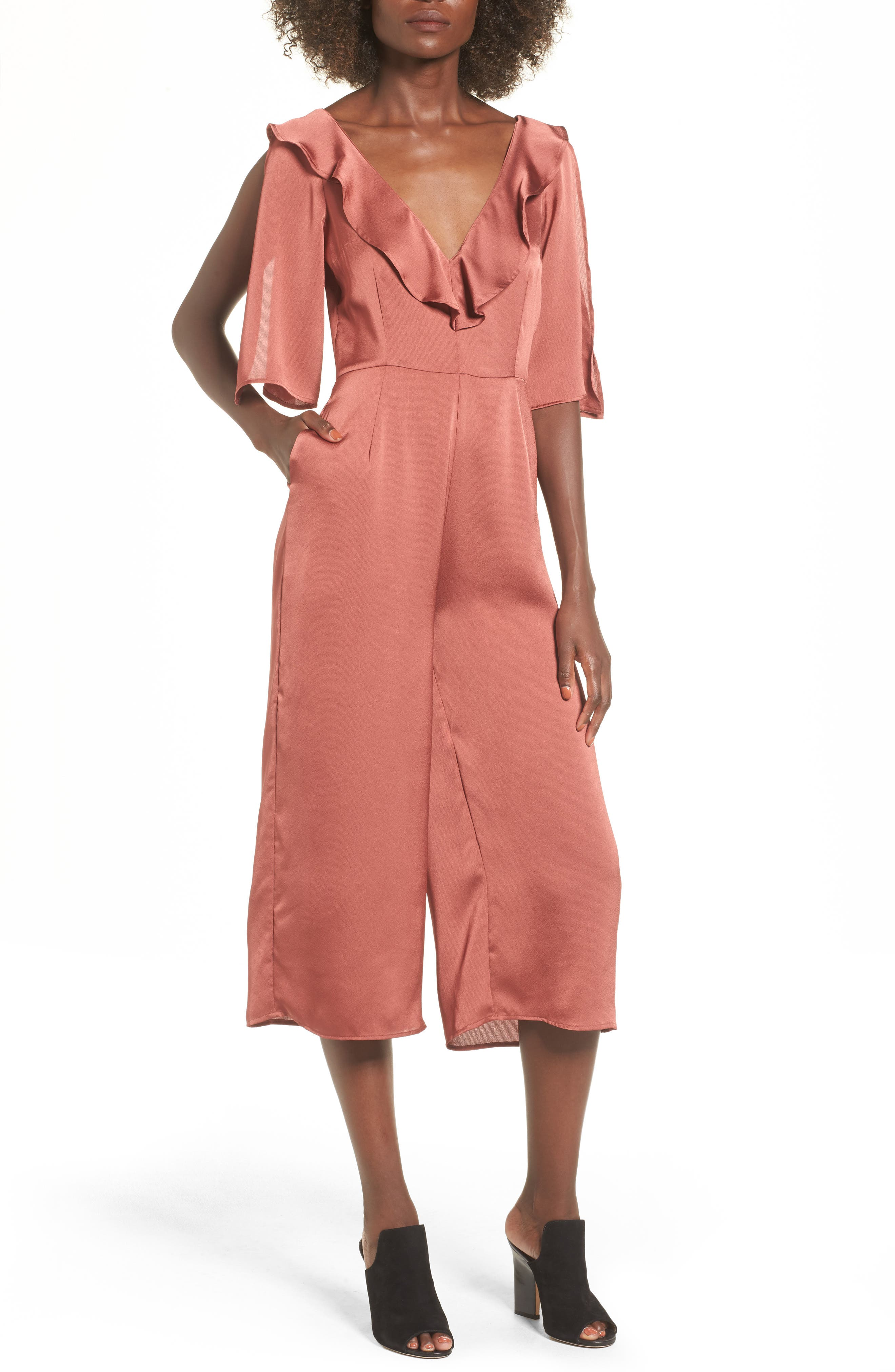 The Fifth Label Lola Ruffle Neck Crop Jumpsuit