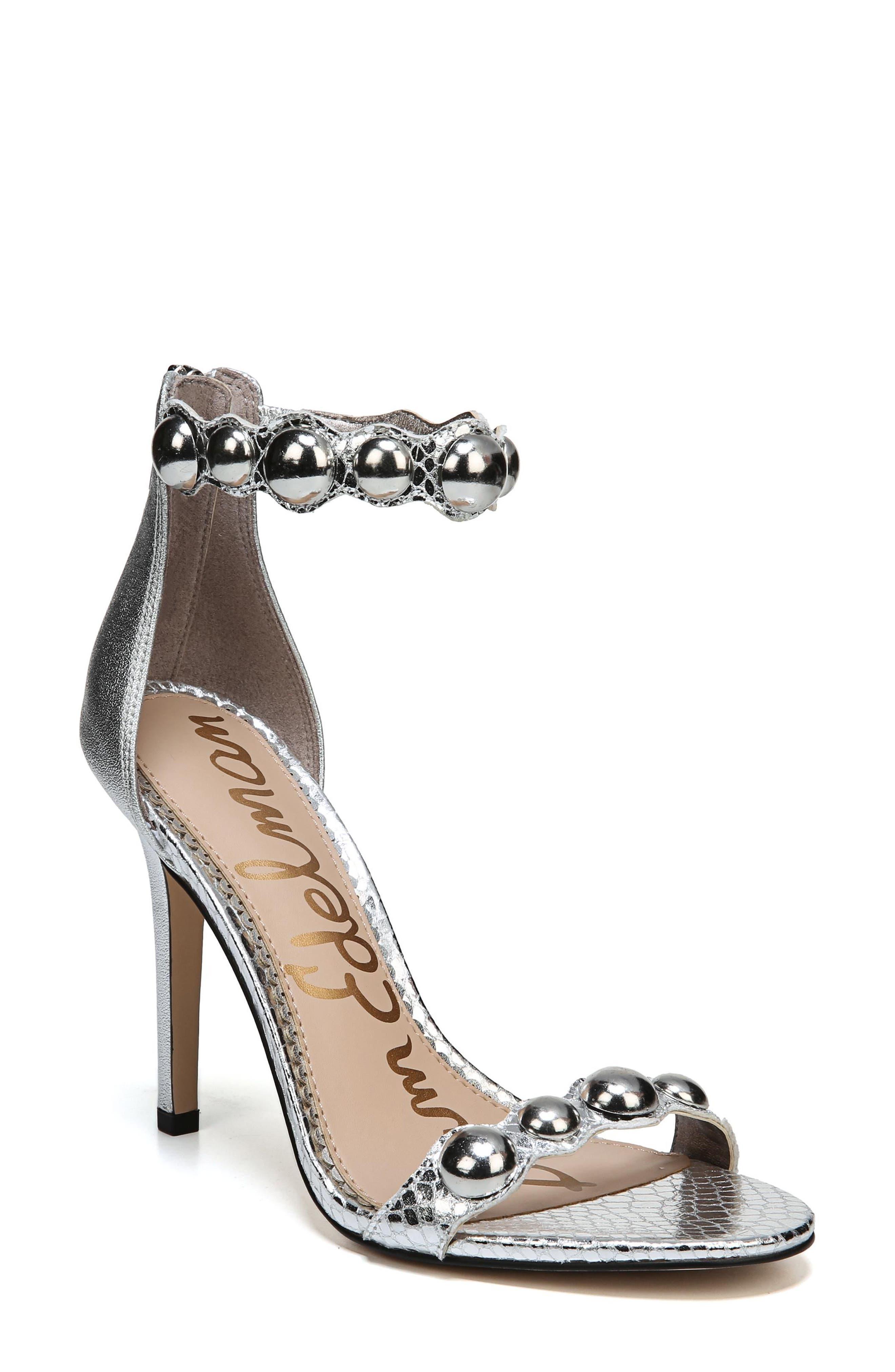 Sam Edelmen Addison Embellished Ankle Strap Sandal,                         Main,                         color, Soft Silver