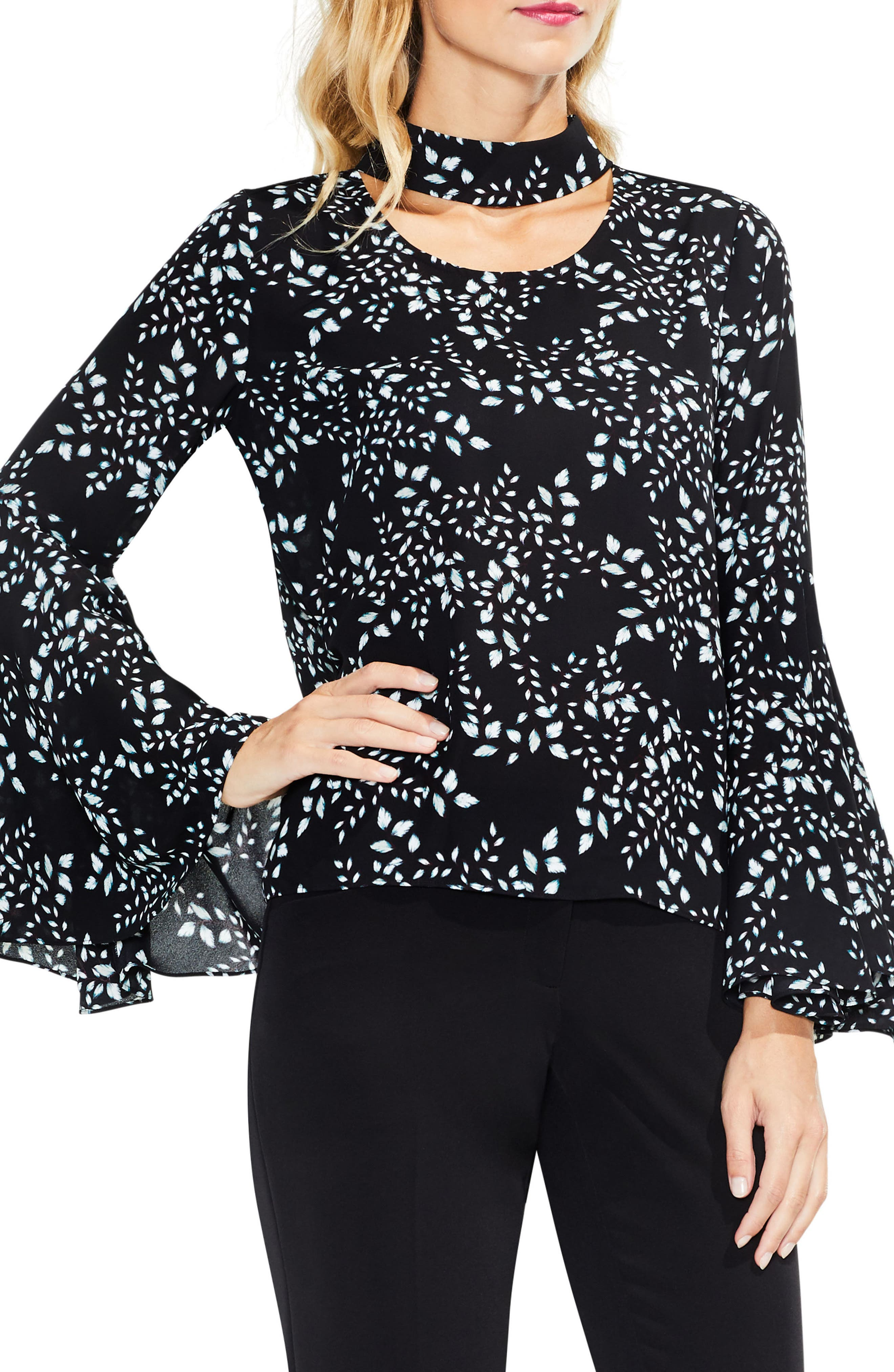 Cascading Leaves Bell Sleeve Blouse,                         Main,                         color, Rich Black