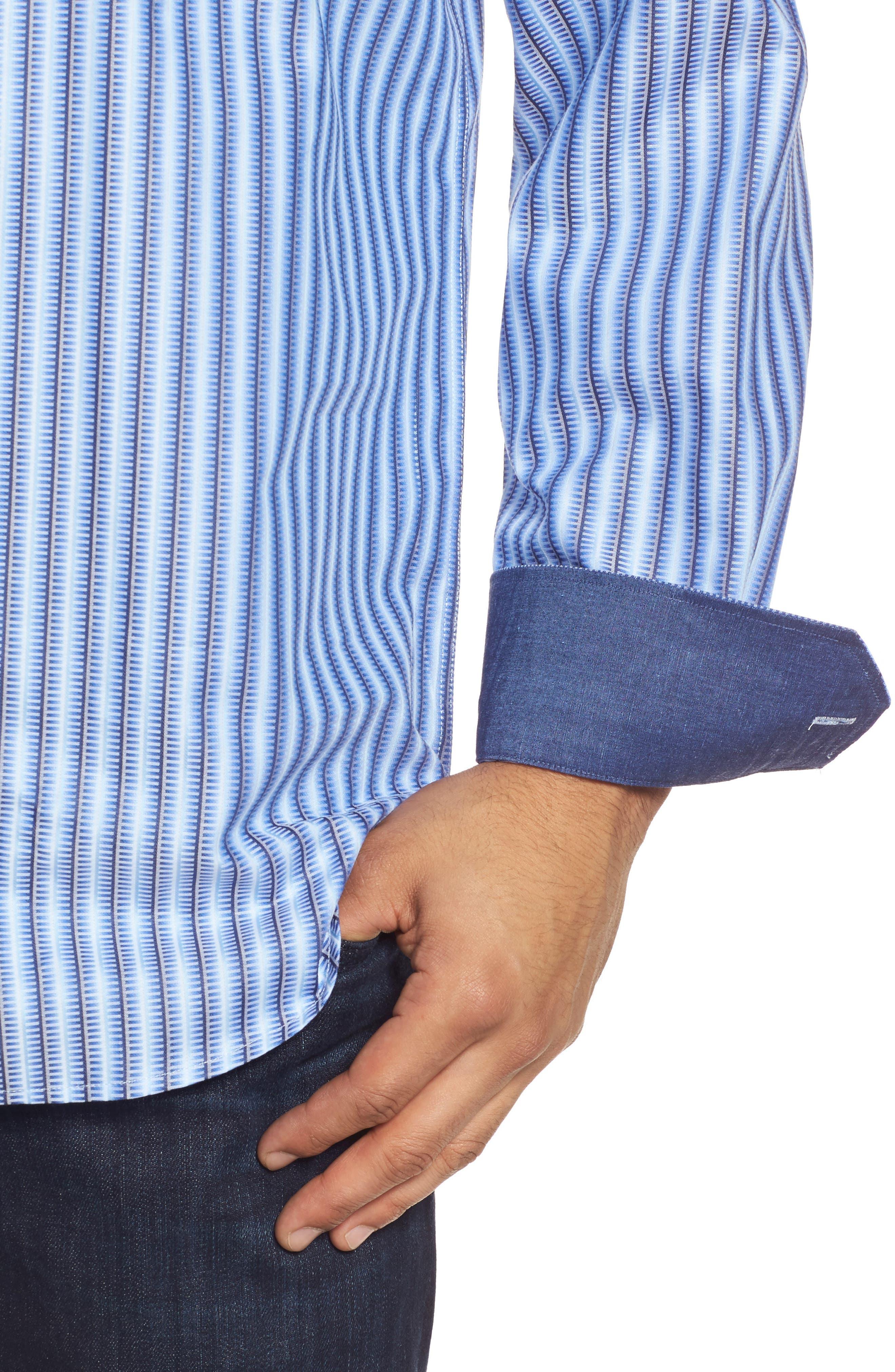 Alternate Image 4  - Bugatchi Classic Fit Striped Sport Shirt