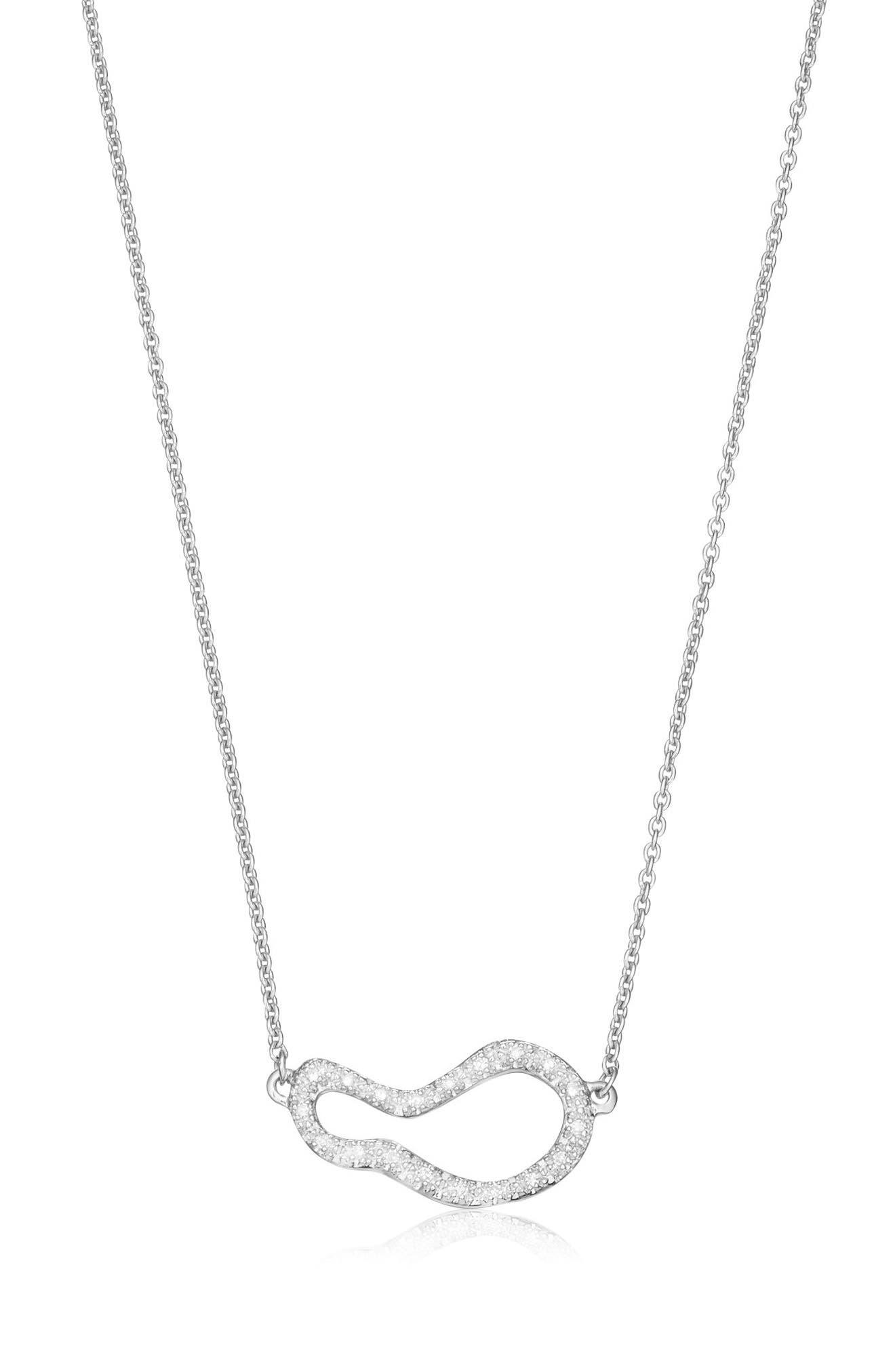 Small Pod Diamond Necklace,                         Main,                         color, Silver