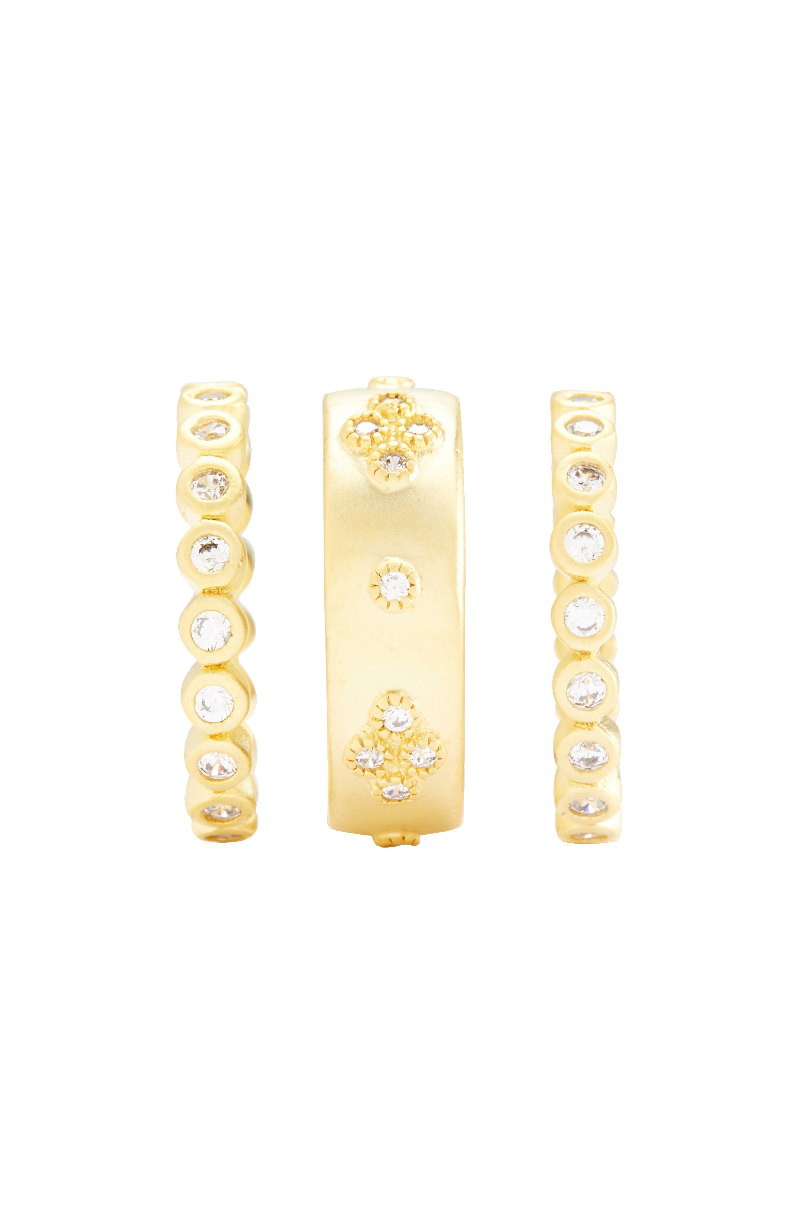Audrey Set of 3 Cubic Zirconia Stacking Rings,                             Alternate thumbnail 3, color,                             Gold/ Clear