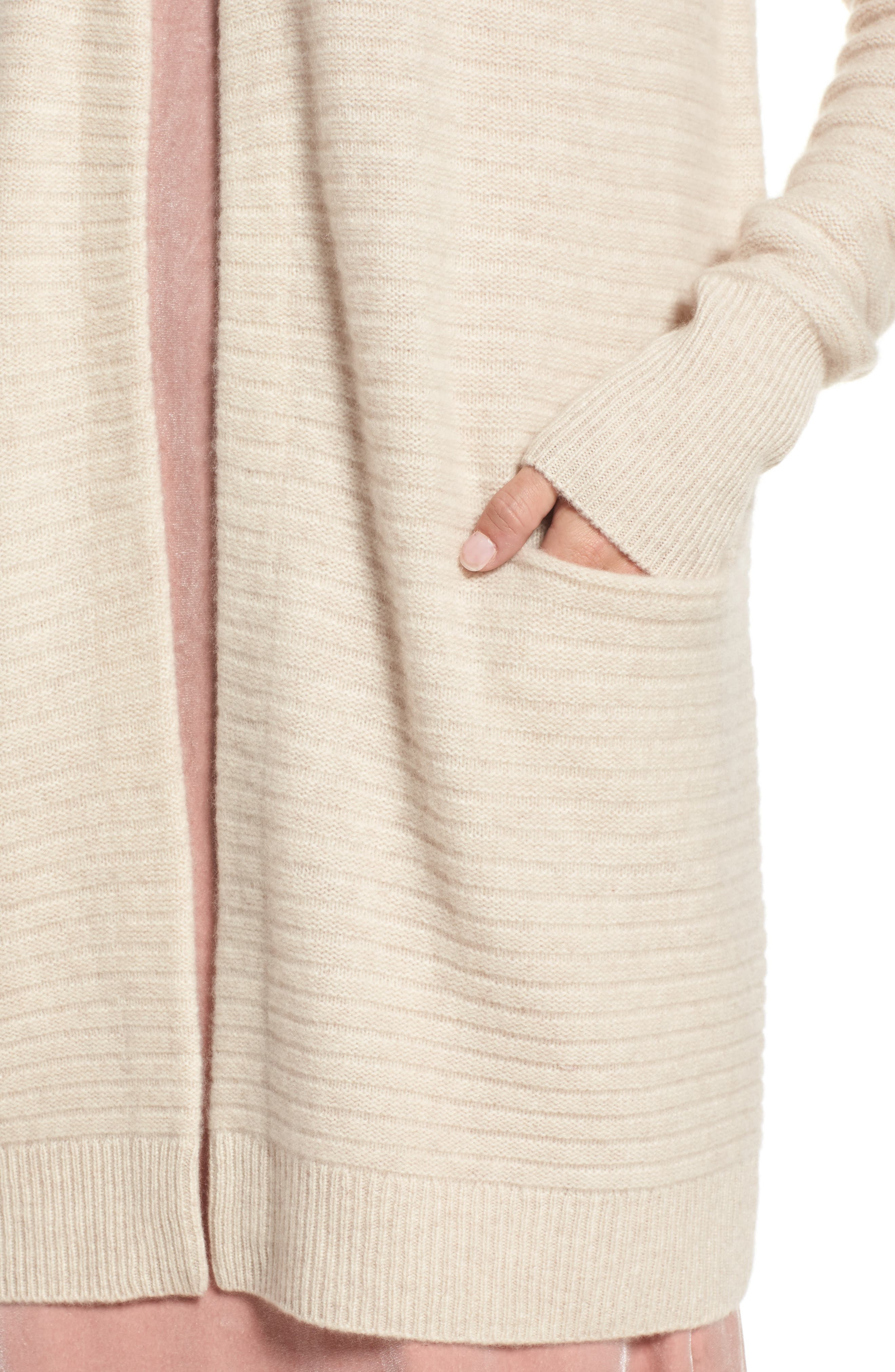 Ribbed Cashmere Cardigan,                             Alternate thumbnail 4, color,                             Heather Oatmeal