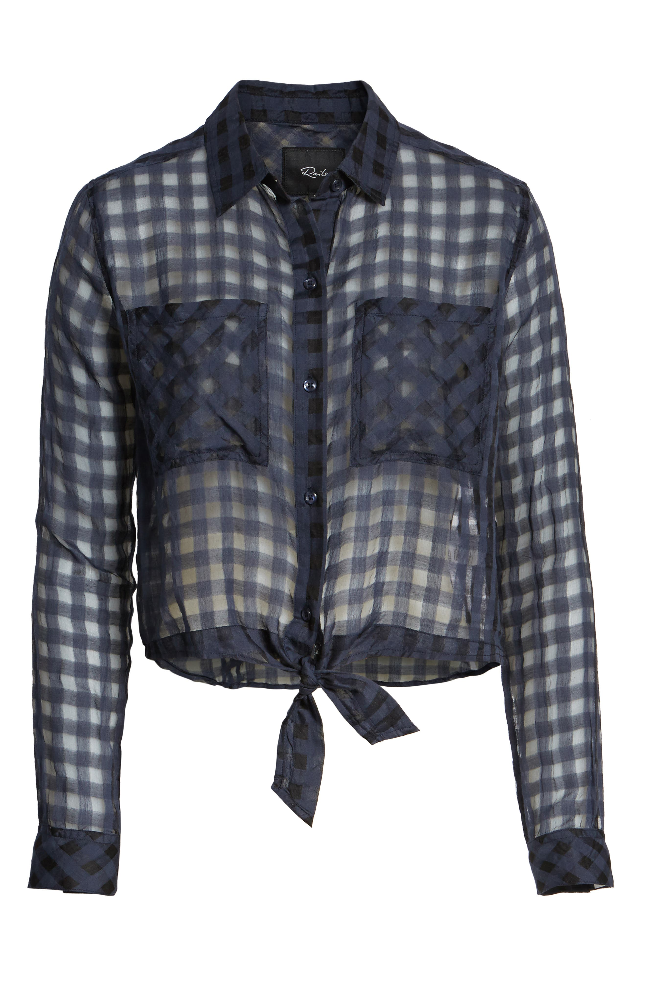 Kelsey Sheer Tie Front Shirt,                             Alternate thumbnail 6, color,                             Midnight Shadow Check
