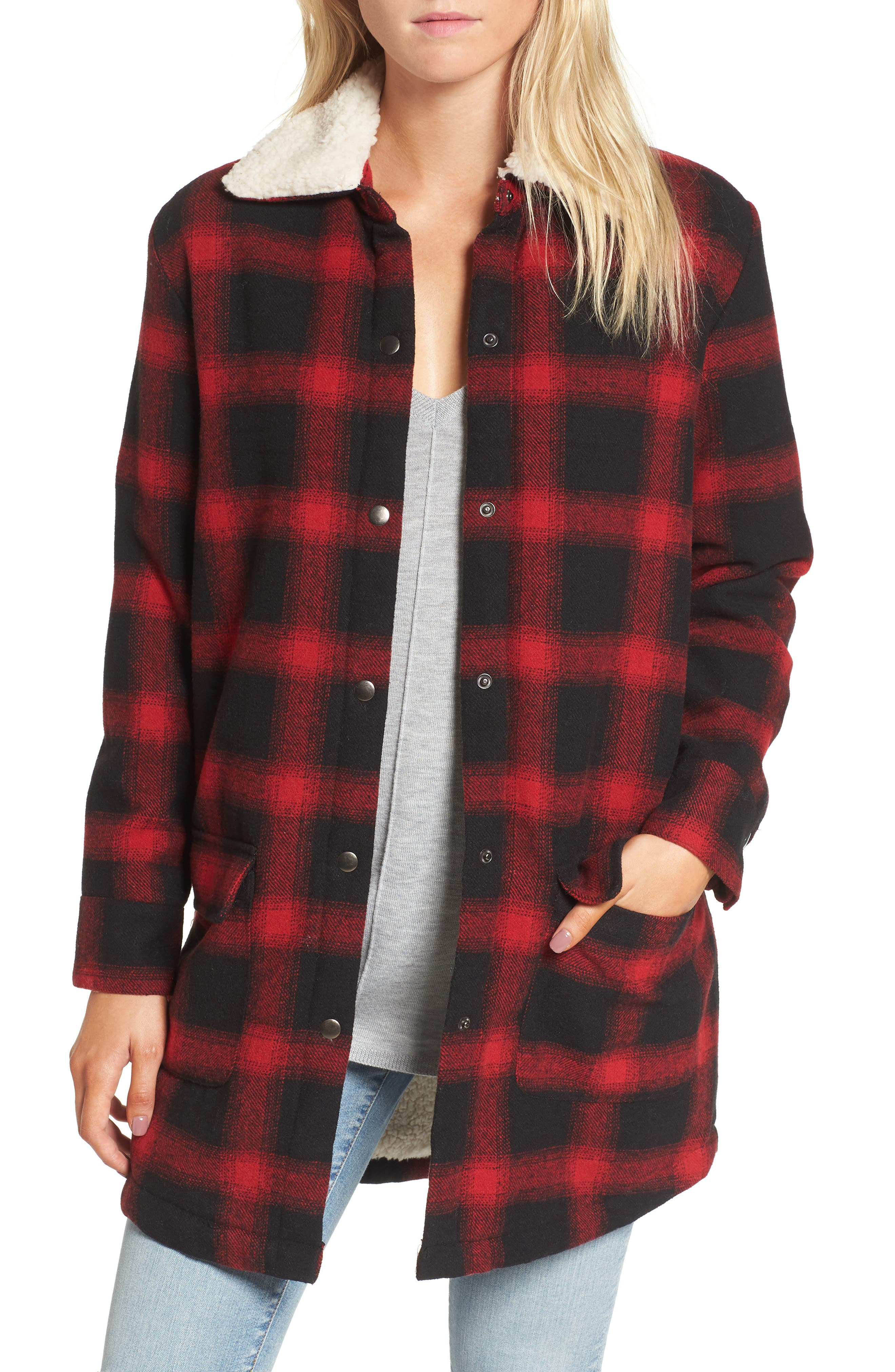 Bradley Fleece Lined Plaid Coat,                         Main,                         color, Cherry Red