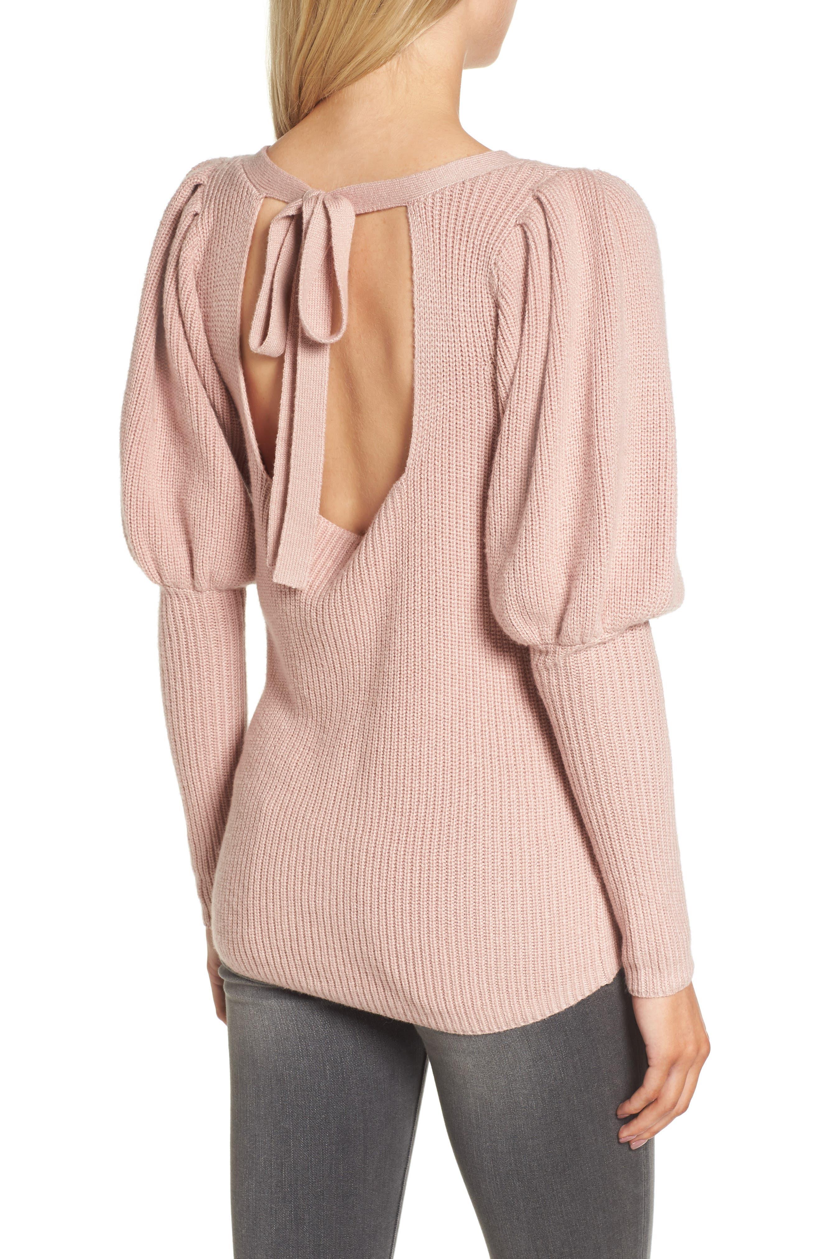 Puff Sleeve Sweatser,                             Alternate thumbnail 2, color,                             Pink Adobe