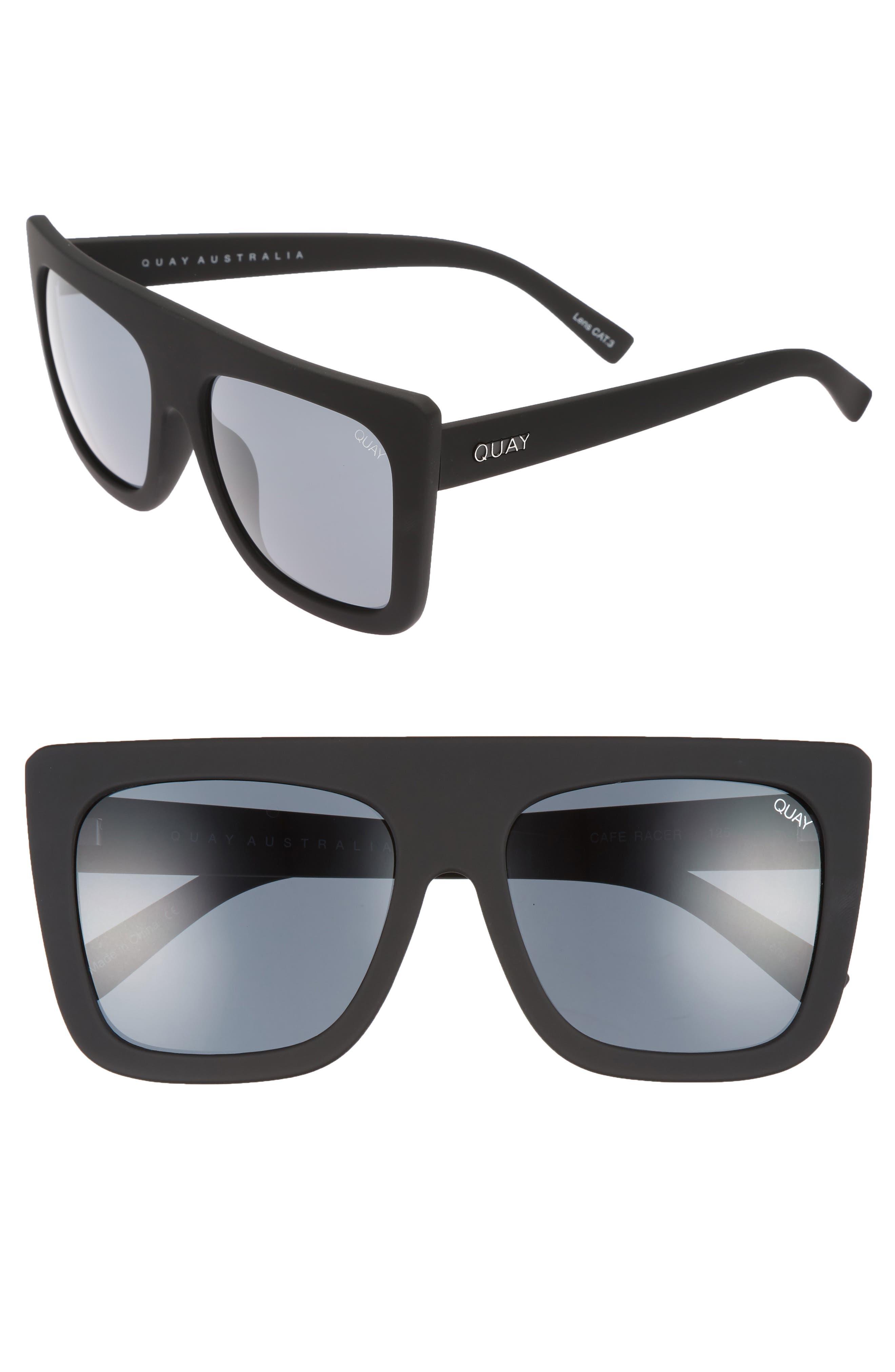 Cafe Racer 55mm Square Sunglasses,                             Main thumbnail 1, color,                             Black/ Smoke