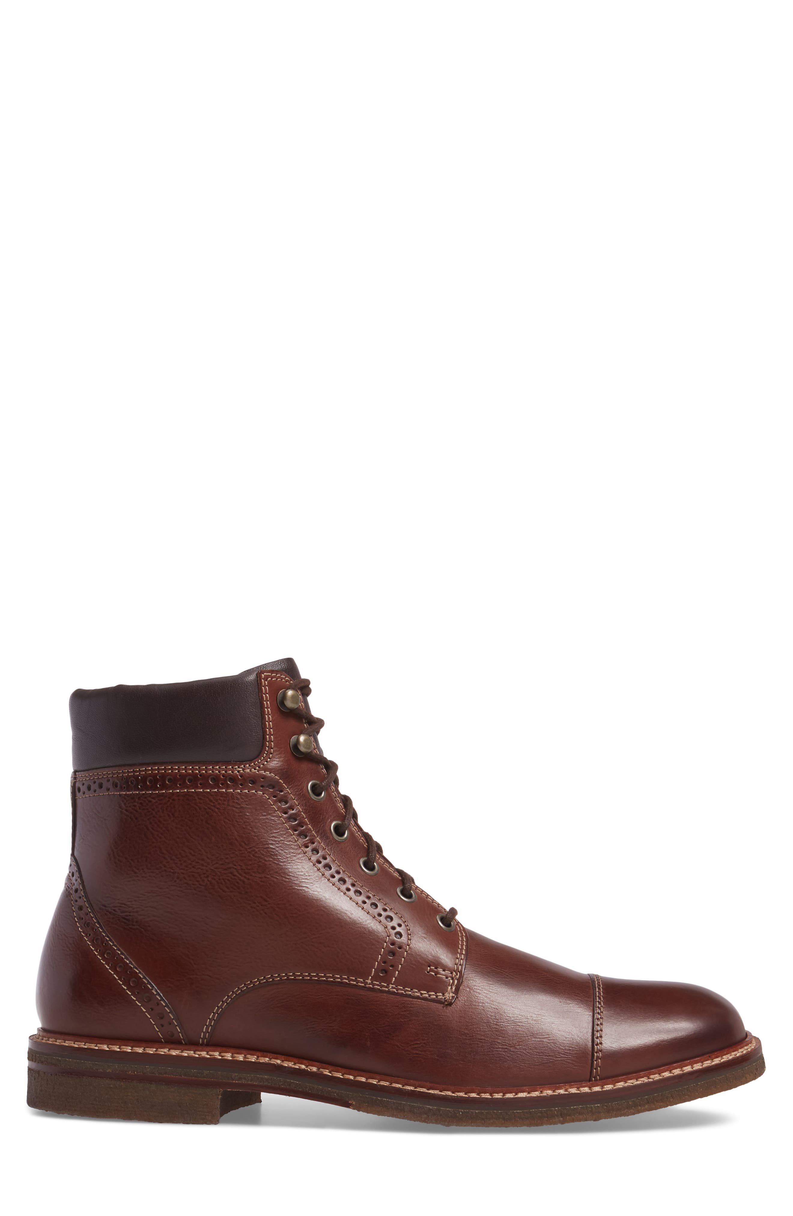 Forrester Cap Toe Boot,                             Alternate thumbnail 3, color,                             Mahogany Leather
