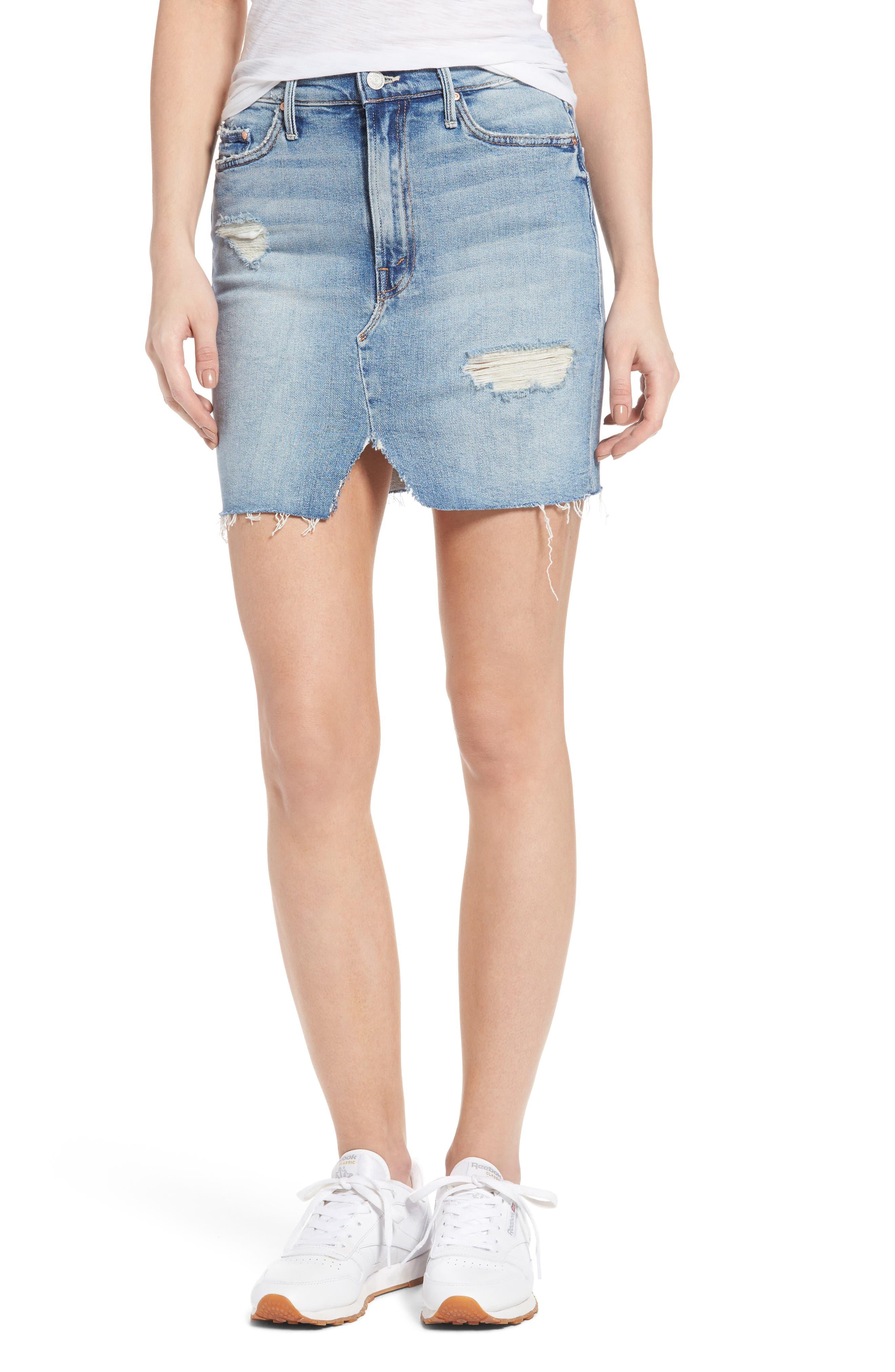 Alternate Image 1 Selected - MOTHER The Sacred Slit Denim Miniskirt