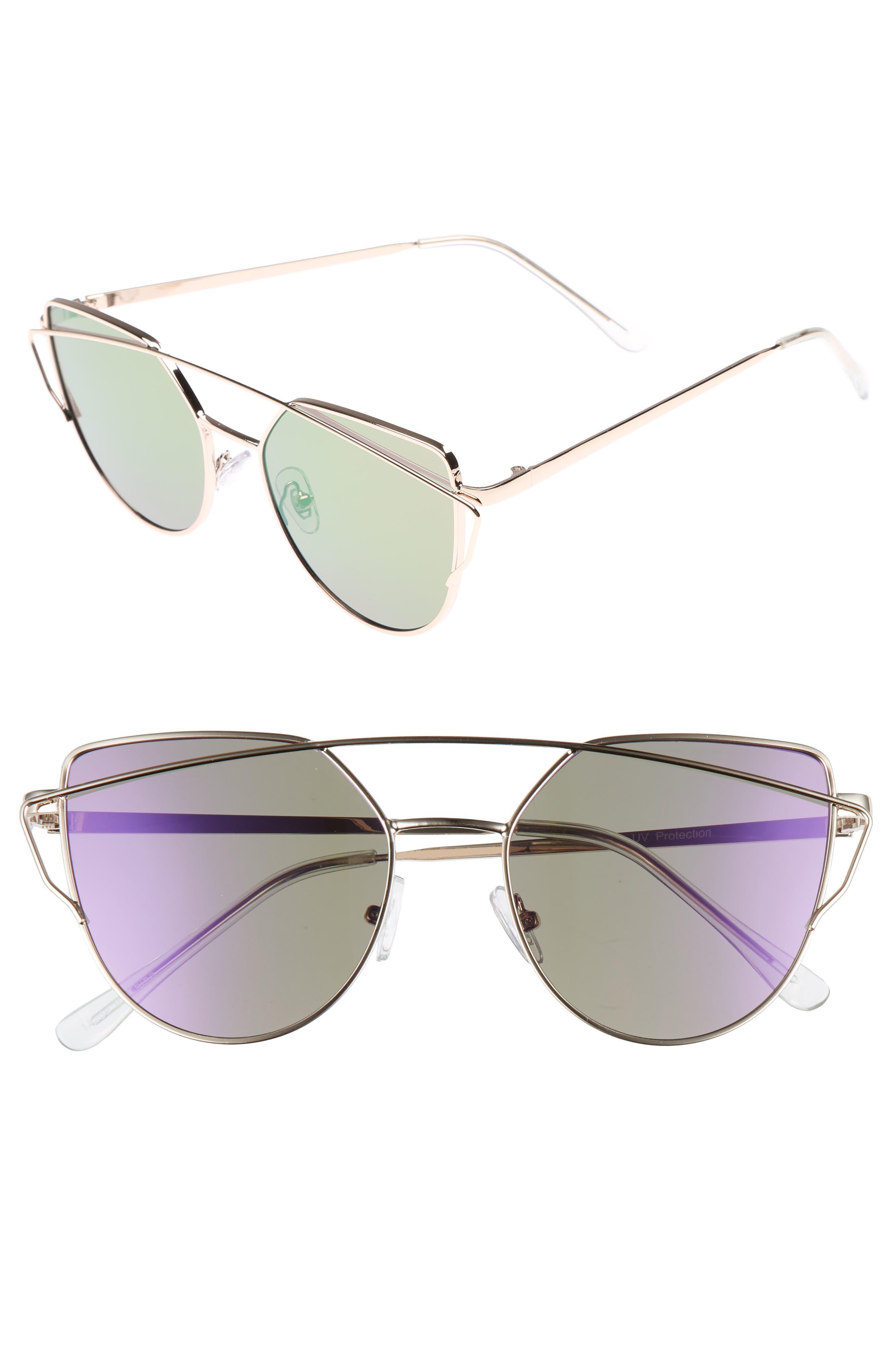 52mm Thin Brow Angular Aviator Sunglasses,                             Main thumbnail 1, color,                             Gold/ Purple