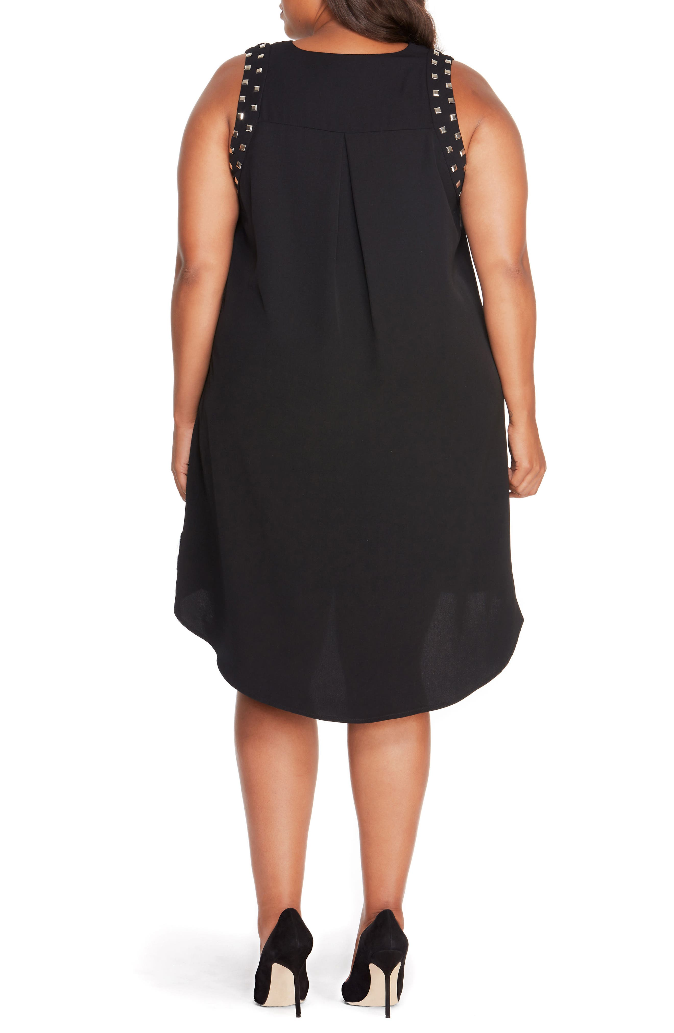Studded Shift Dress,                             Alternate thumbnail 2, color,                             Black Beauty