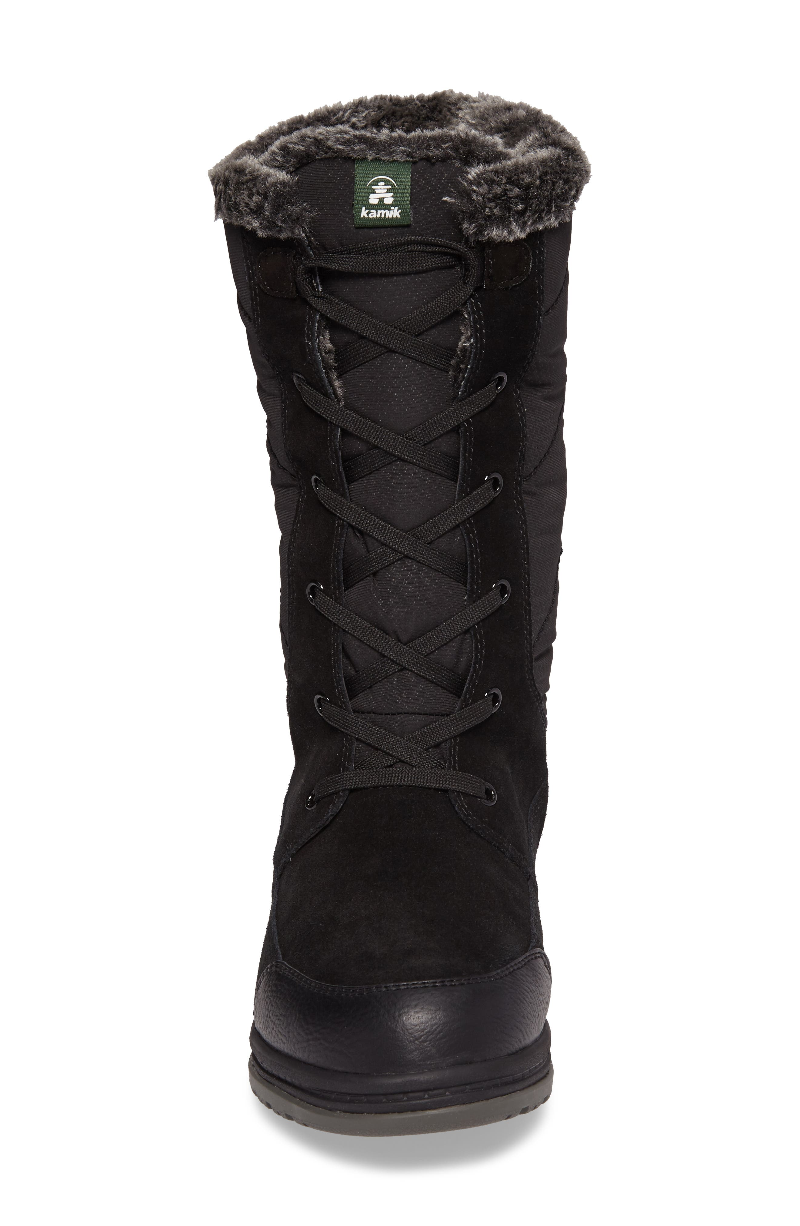 QuincyS Waterproof Boot,                             Alternate thumbnail 4, color,                             Black Fabric