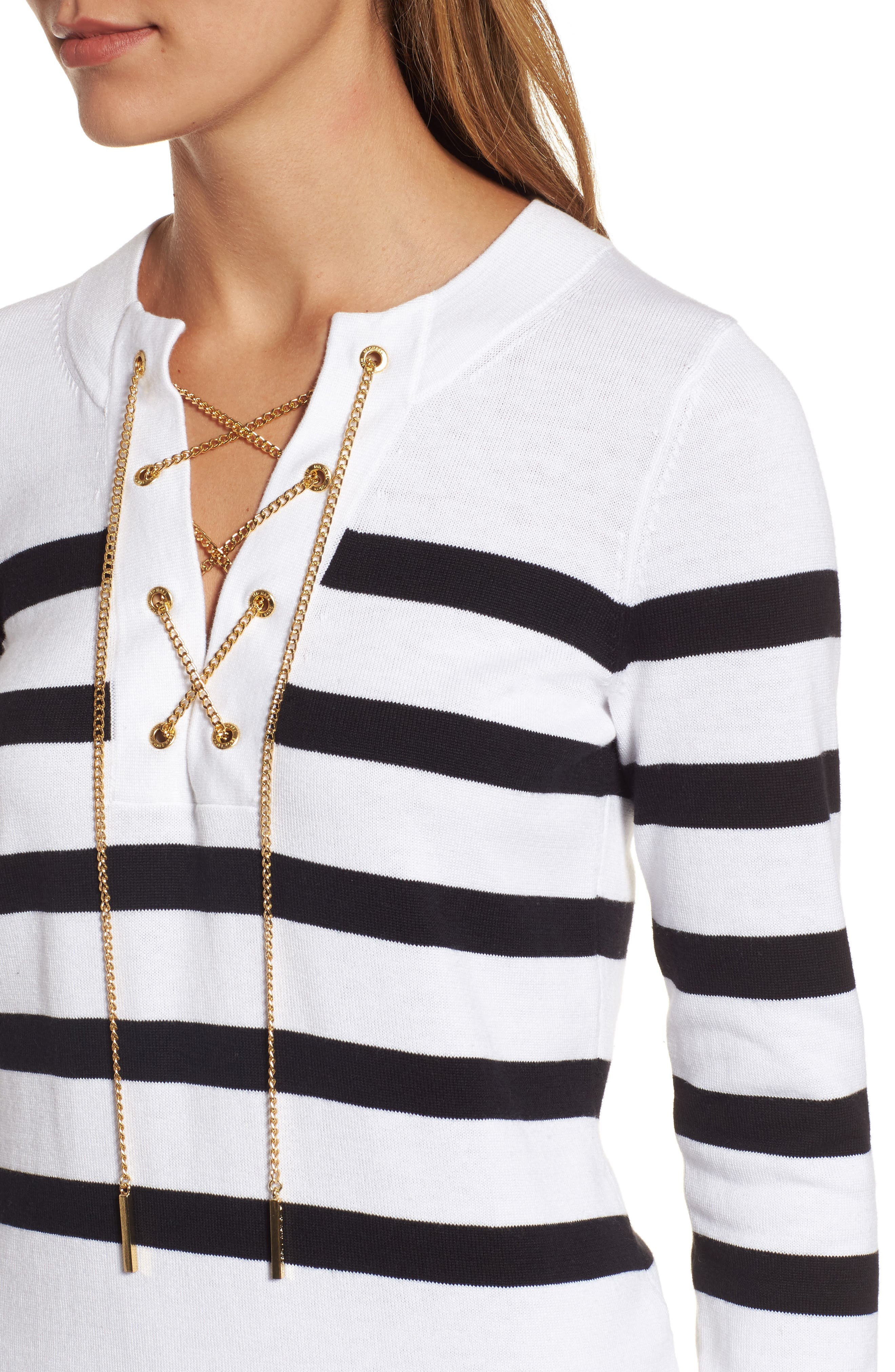 Laced Chain Tunic,                             Alternate thumbnail 4, color,                             White/ Black