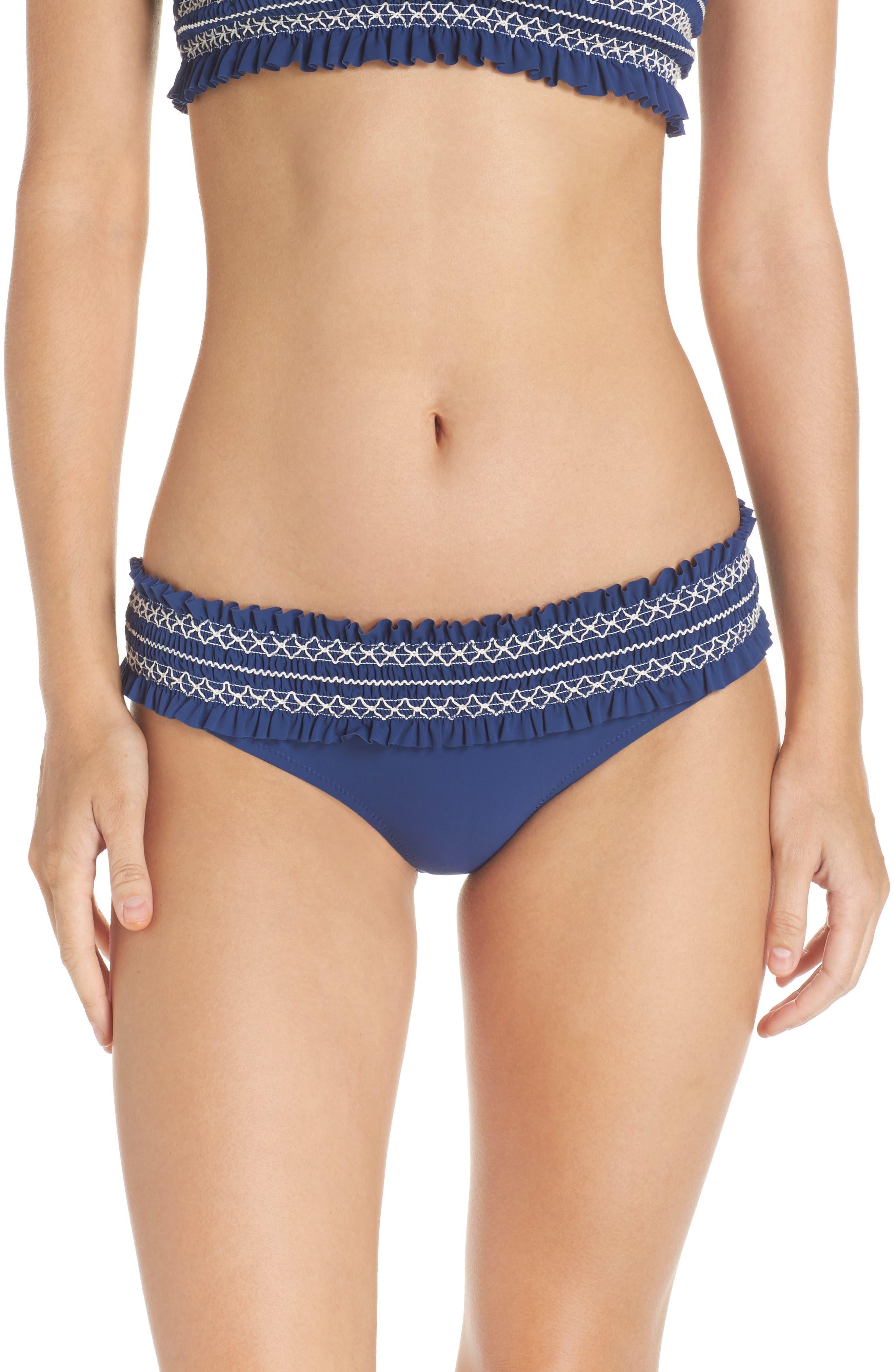 Costa Smocked Hipster Bikini Bottoms,                             Main thumbnail 1, color,                             Capri Blue/ New Ivory