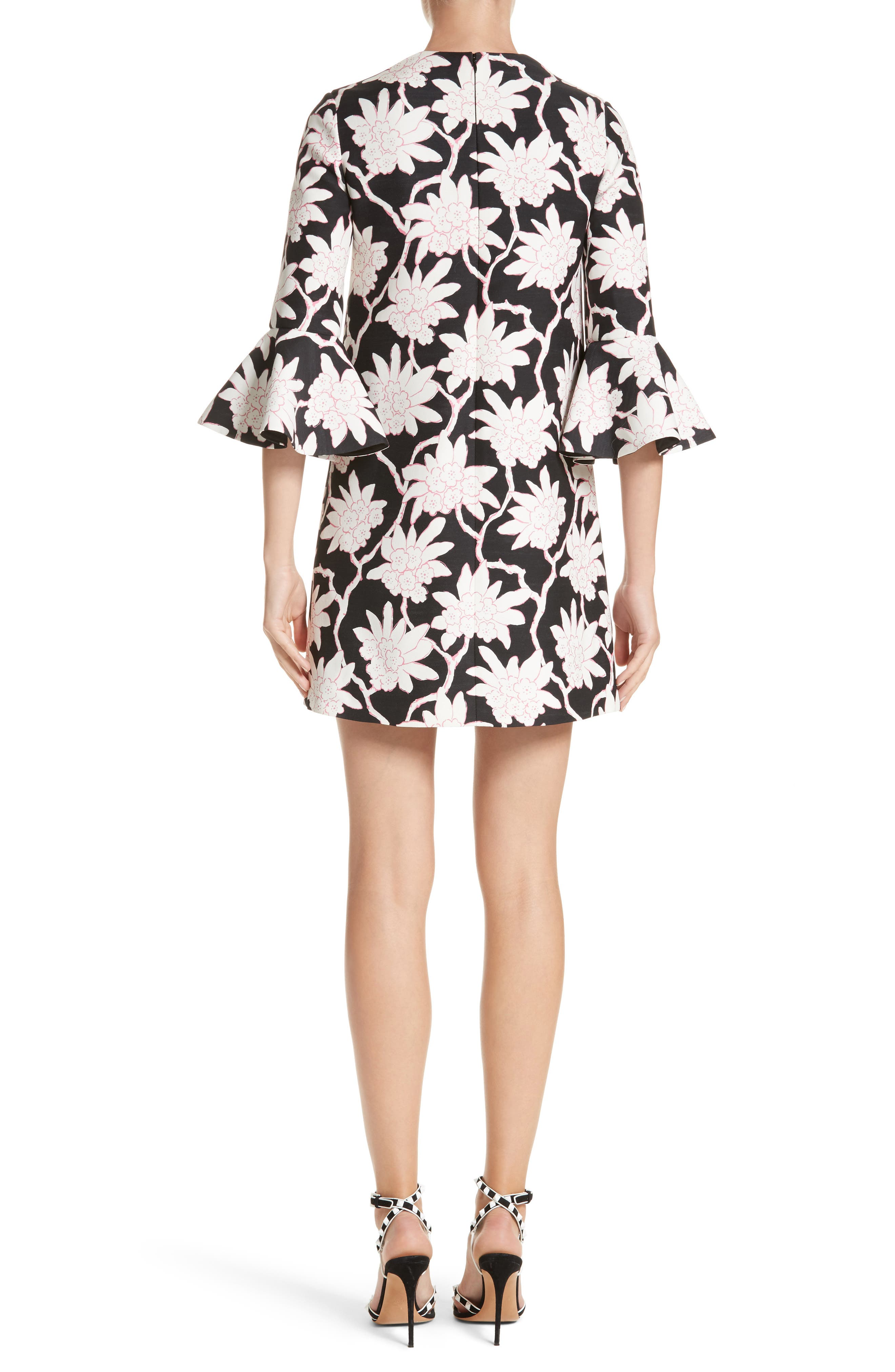Rhododendron Print Wool & Silk Dress,                             Alternate thumbnail 2, color,                             Black
