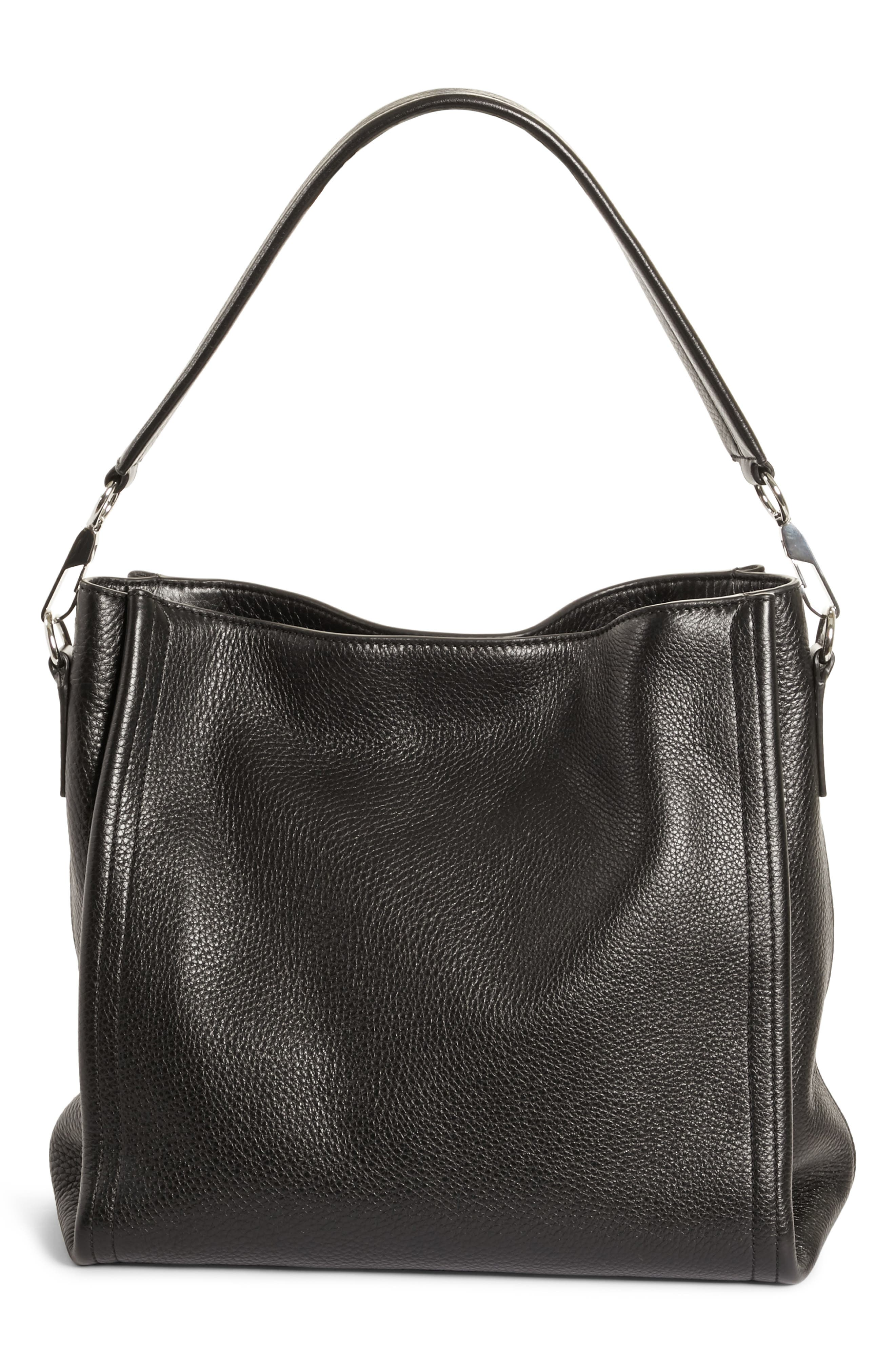 Darcy Leather Hobo,                             Alternate thumbnail 3, color,                             Black