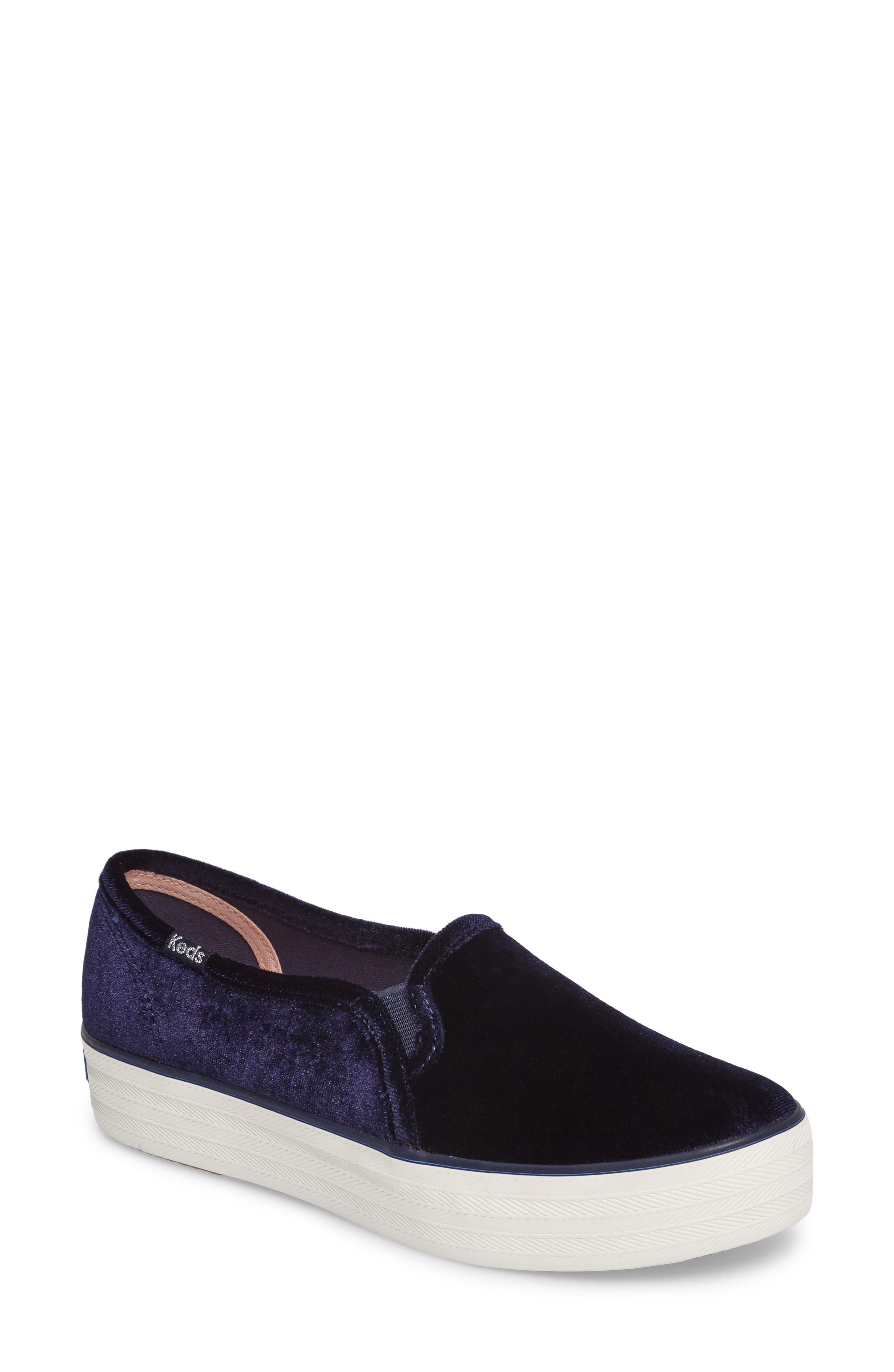 Triple Decker Slip-On Platform Sneaker,                             Main thumbnail 1, color,                             Navy Velvet