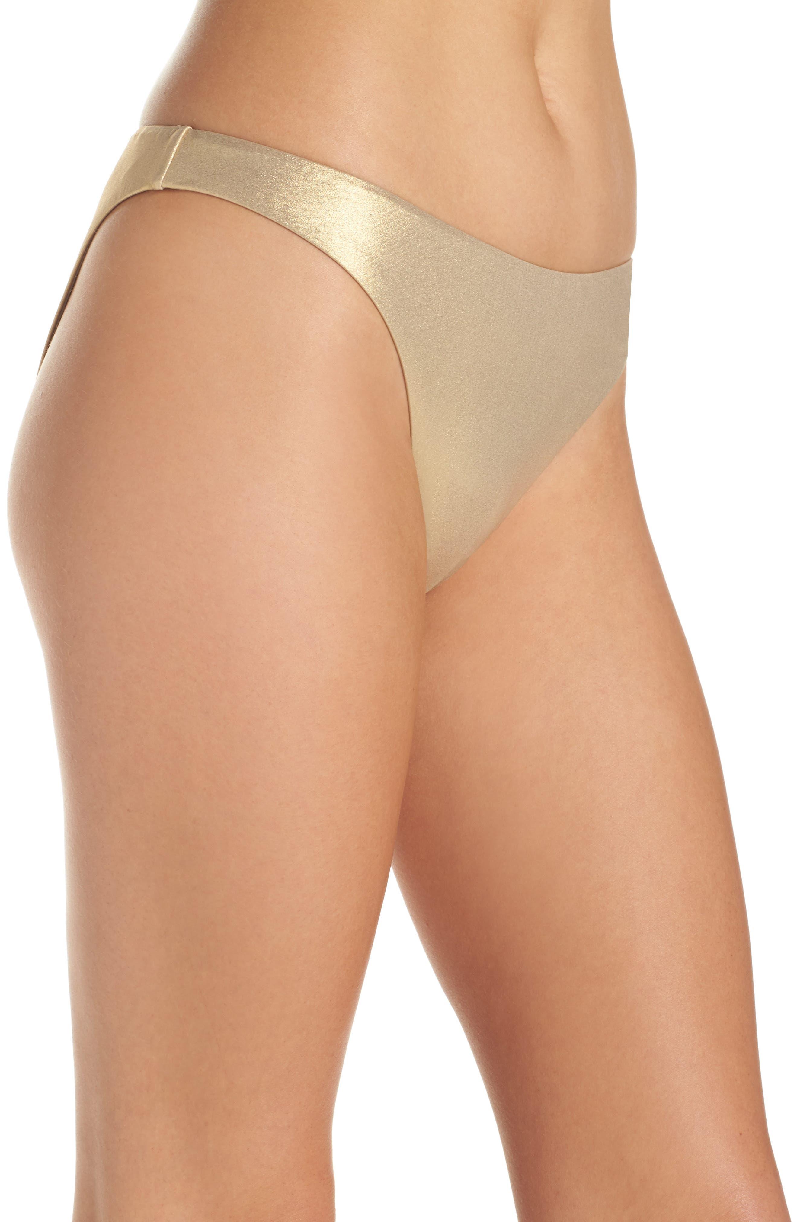 Golden Medallion Bikini Bottoms,                             Alternate thumbnail 3, color,                             Gold