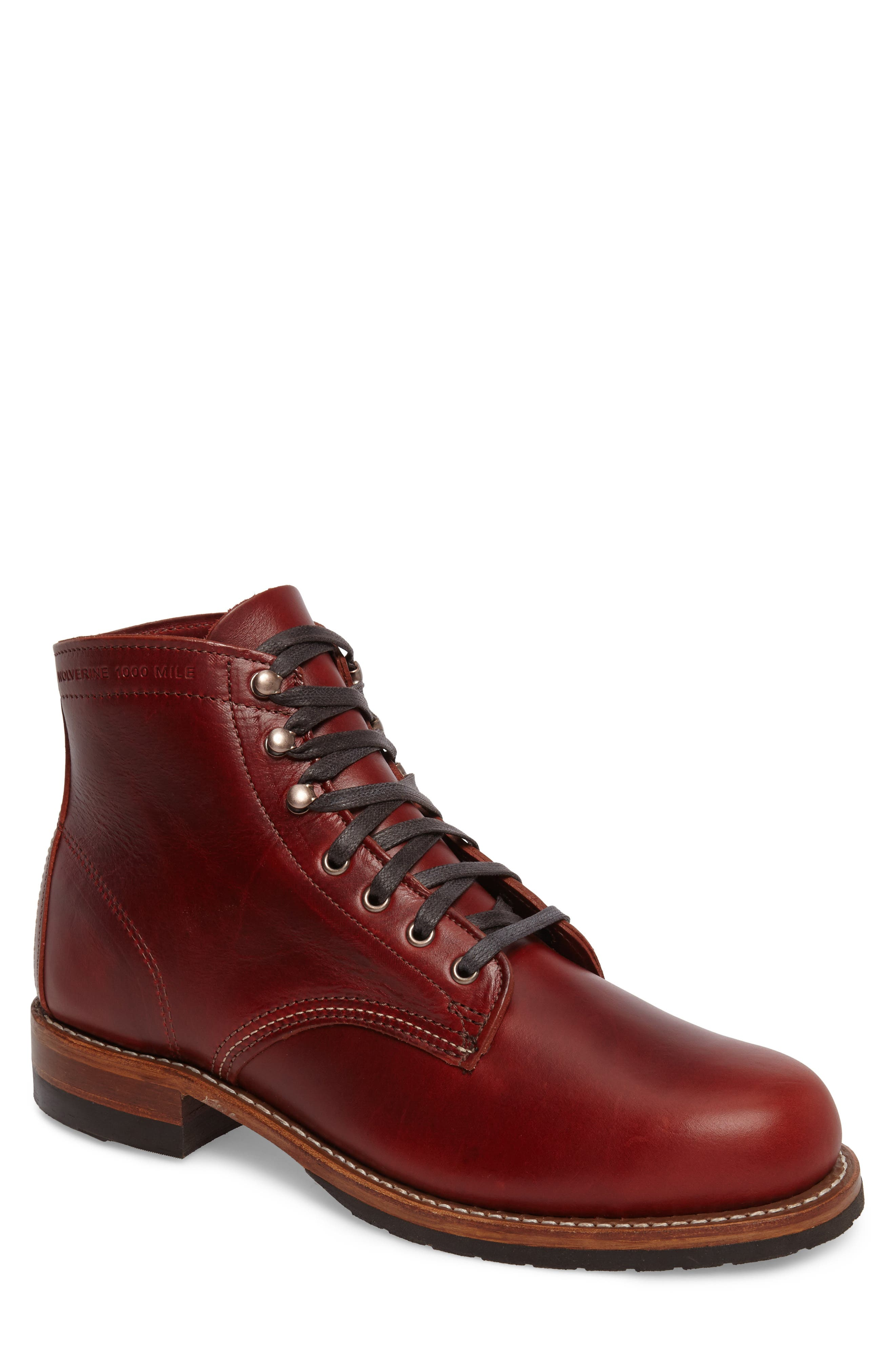 Evans Plain Toe Boot,                             Main thumbnail 1, color,                             Red Leather