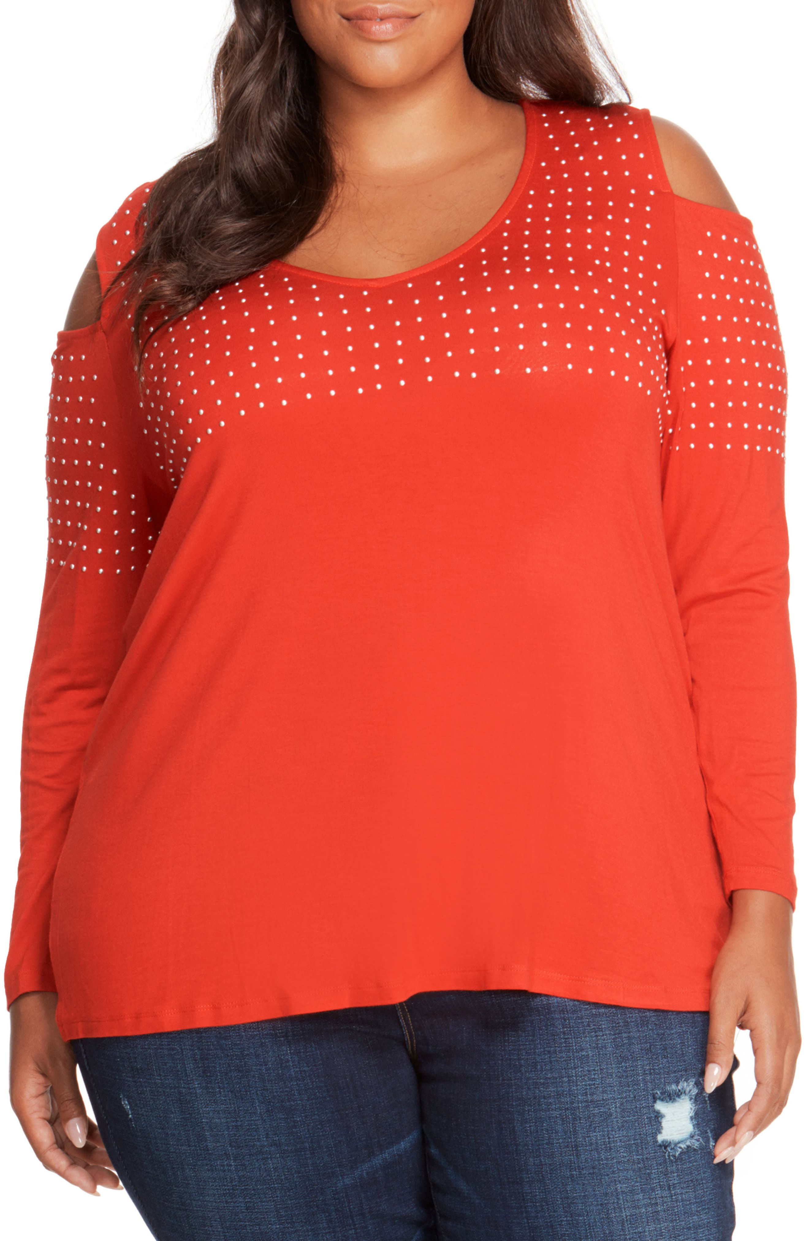 Studded Cold Shoulder Top,                         Main,                         color, Haute Red