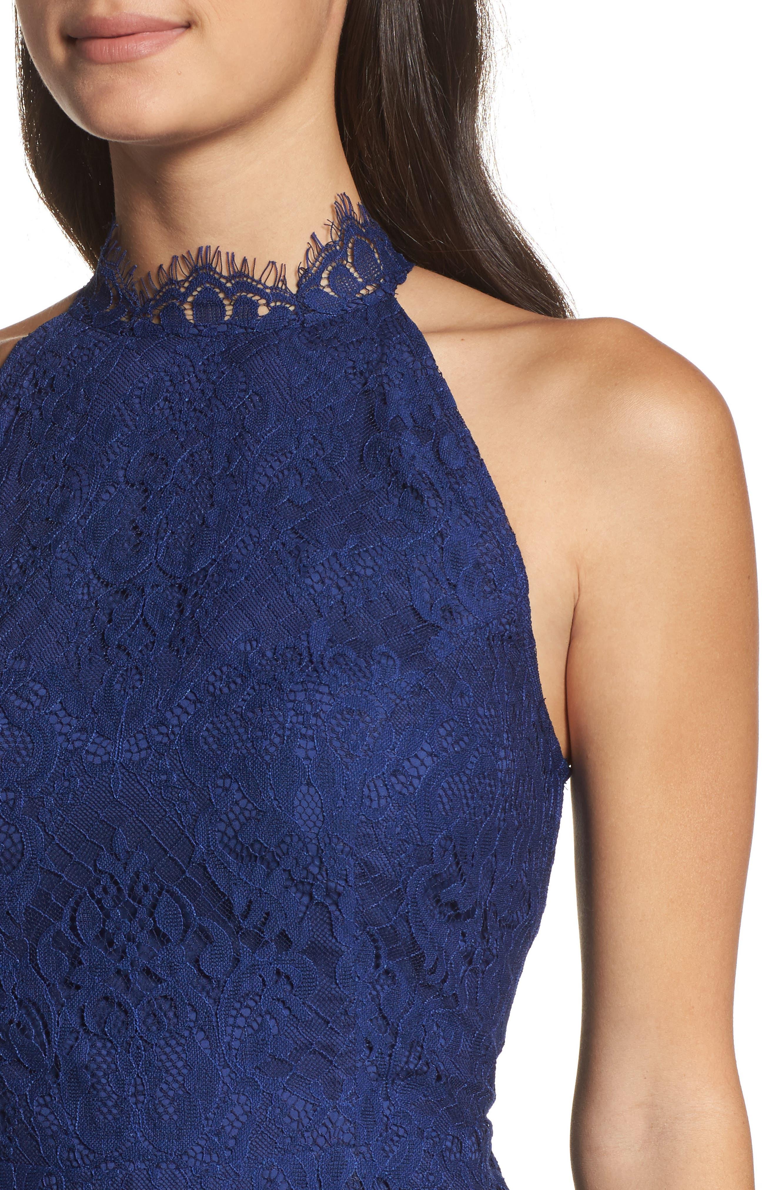 Cherie Lace Halter Sheath Dress,                             Alternate thumbnail 4, color,                             Blue