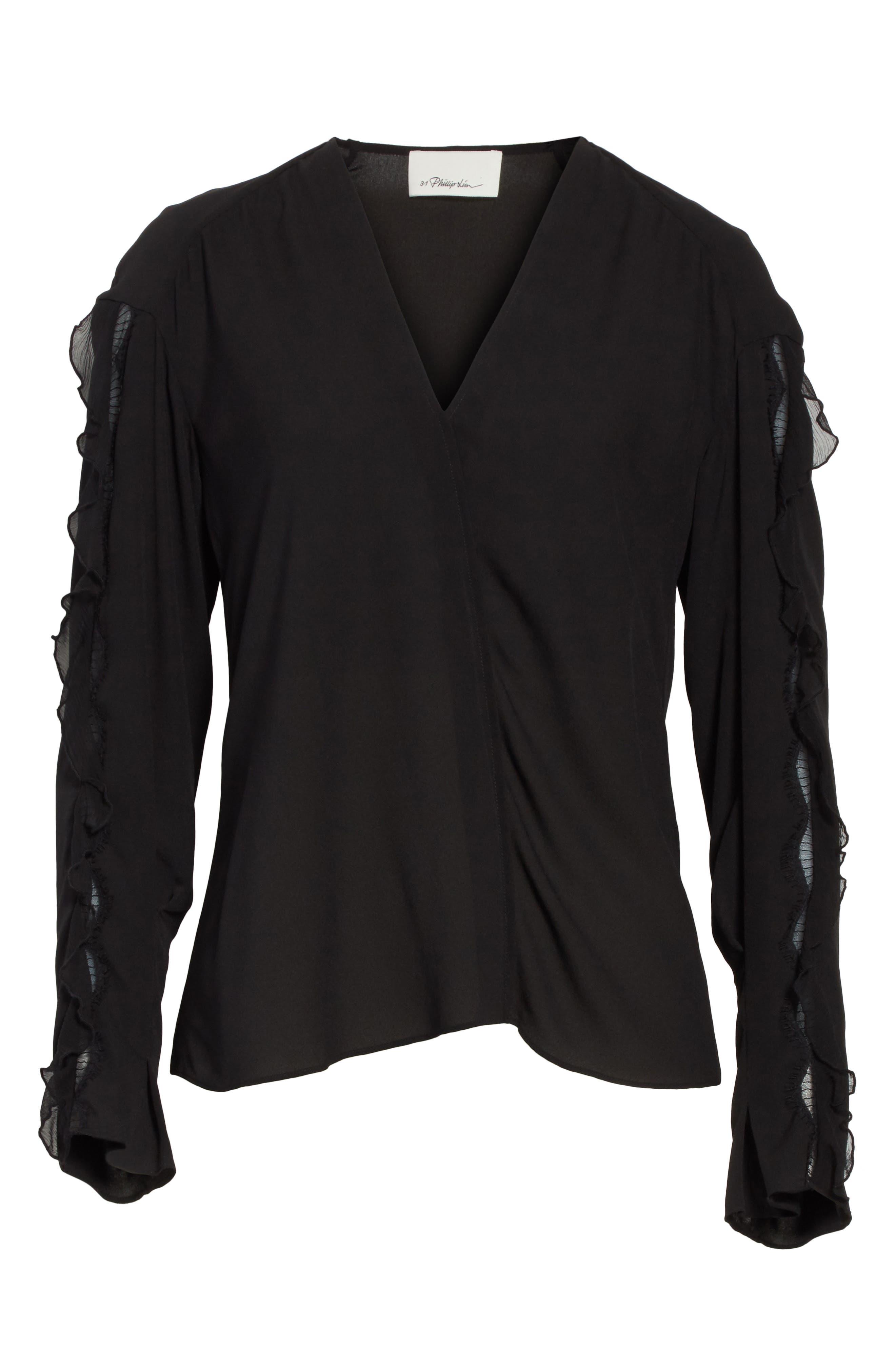 Ruffle Sleeve Silk Blouse,                             Alternate thumbnail 6, color,                             Black