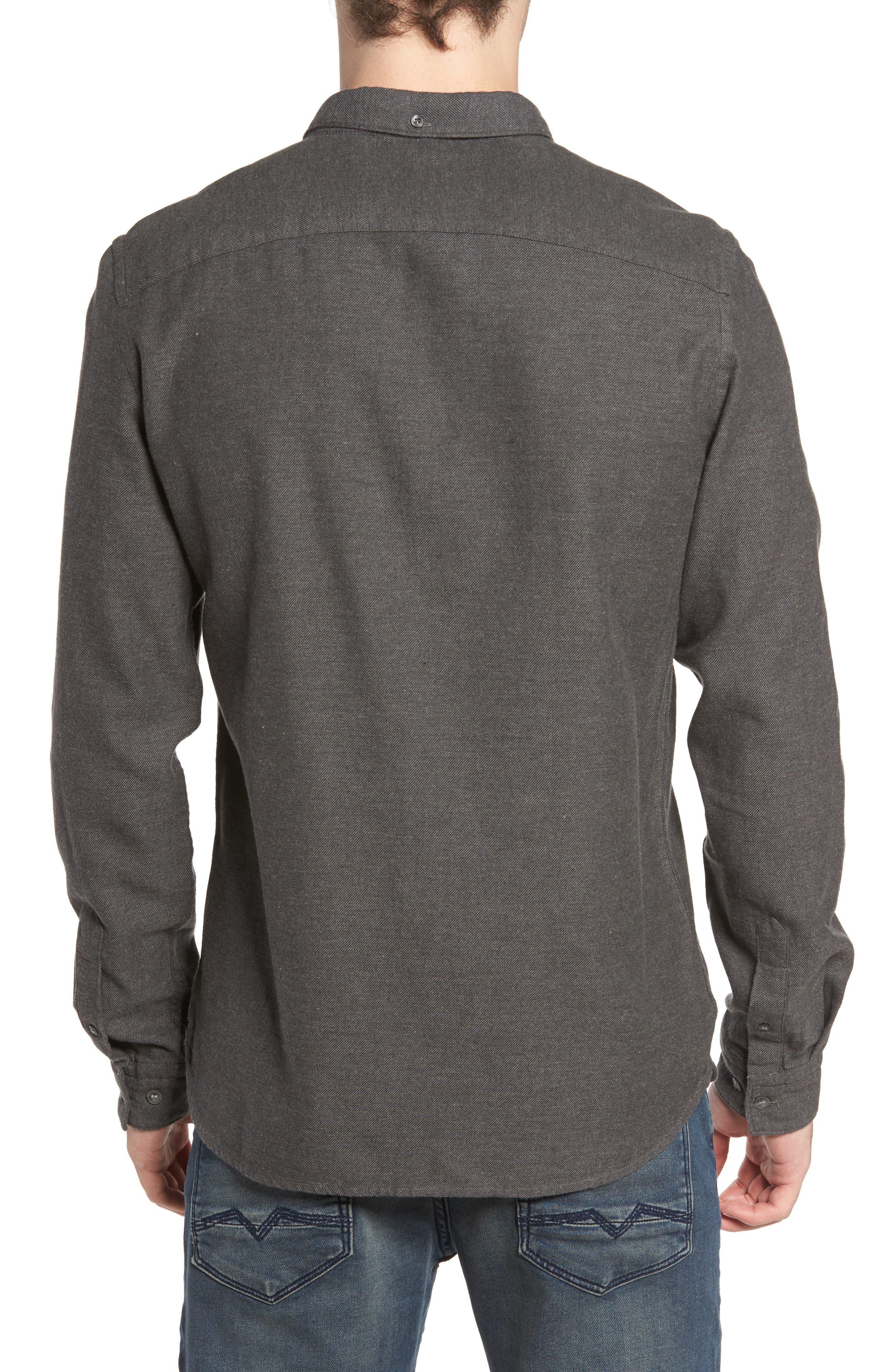 Regular Fit Flannel Sport Shirt,                             Alternate thumbnail 2, color,                             Charcoal Mel