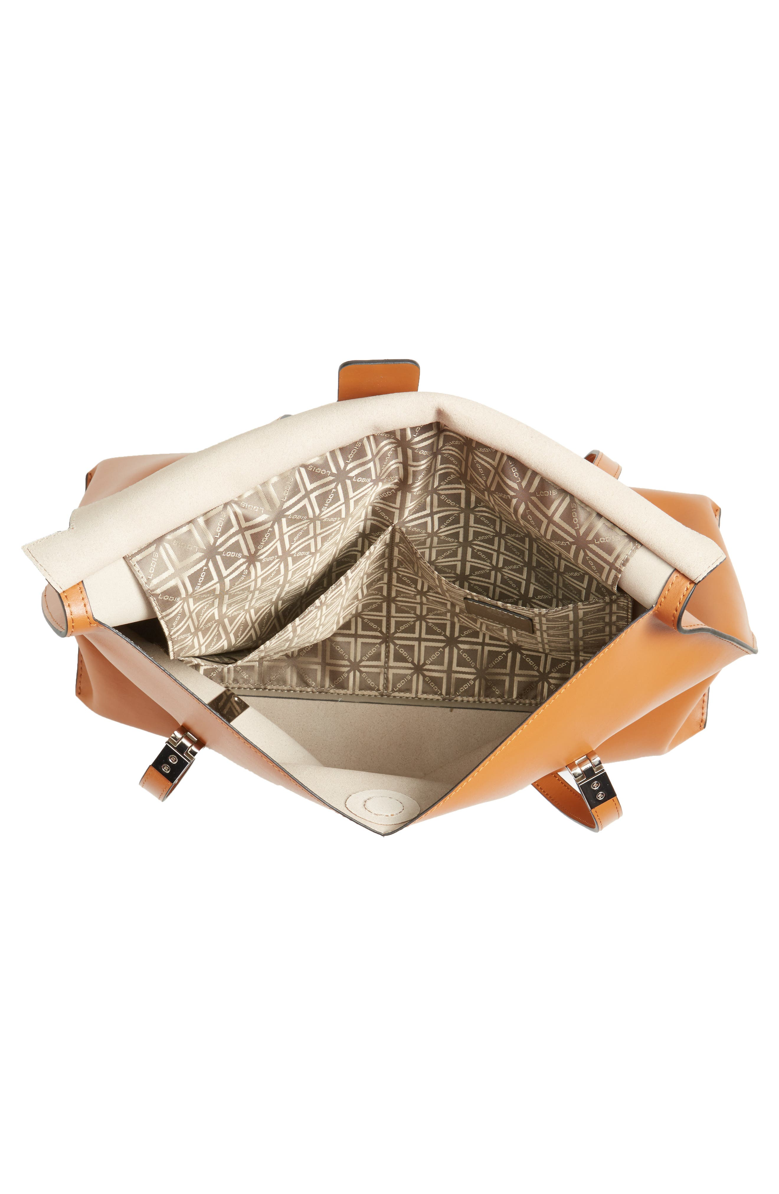 LODIS Silicon Valley - Lorrain RFID Leather Satchel,                             Alternate thumbnail 4, color,                             Toffee/ Taupe