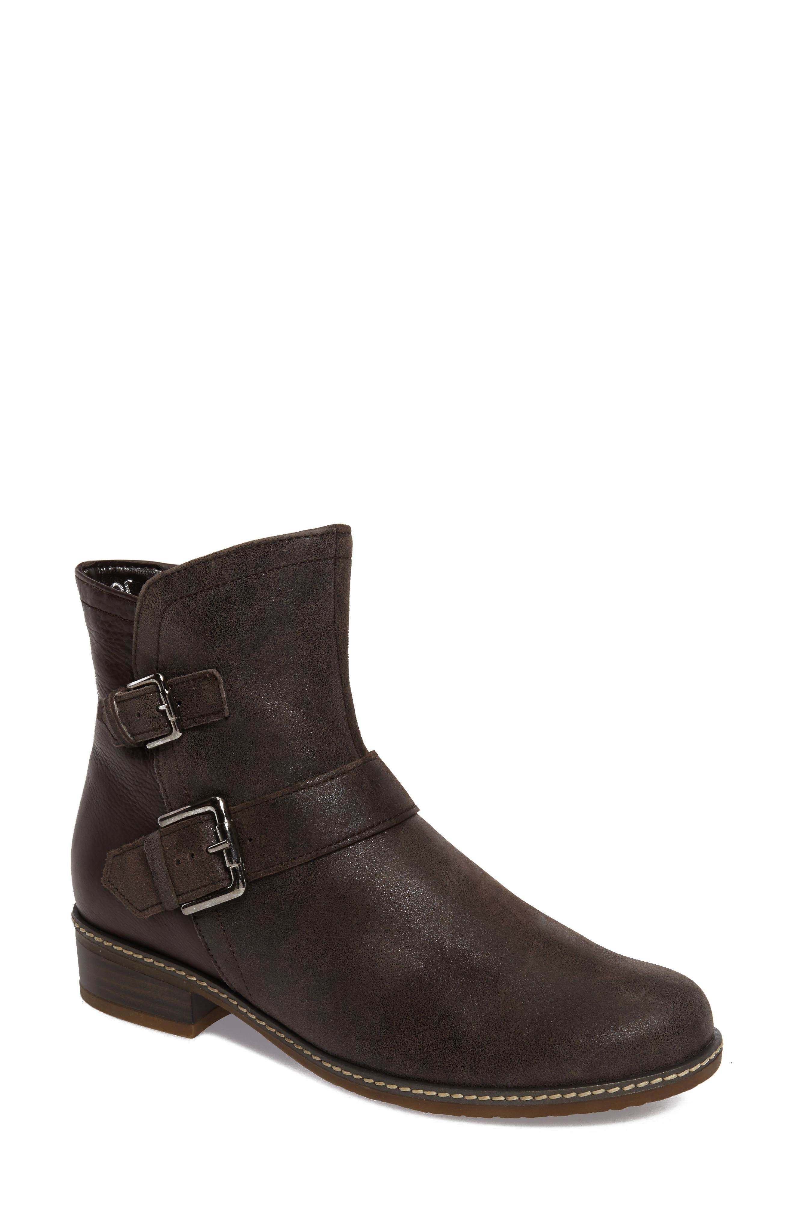 Buckle Bootie,                         Main,                         color, Brown Leather