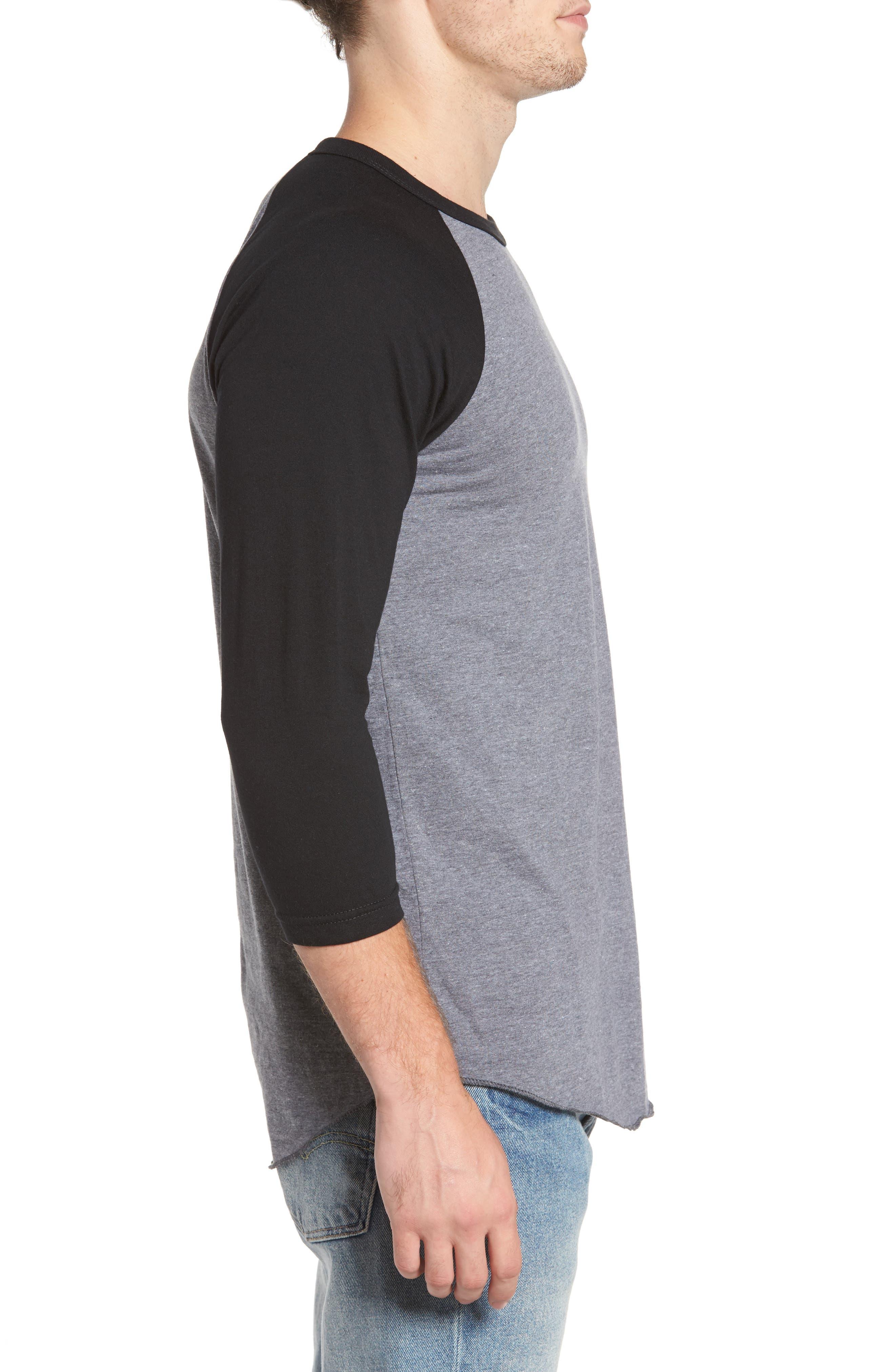 Planer Raglan T-Shirt,                             Alternate thumbnail 3, color,                             Grey W/ Black