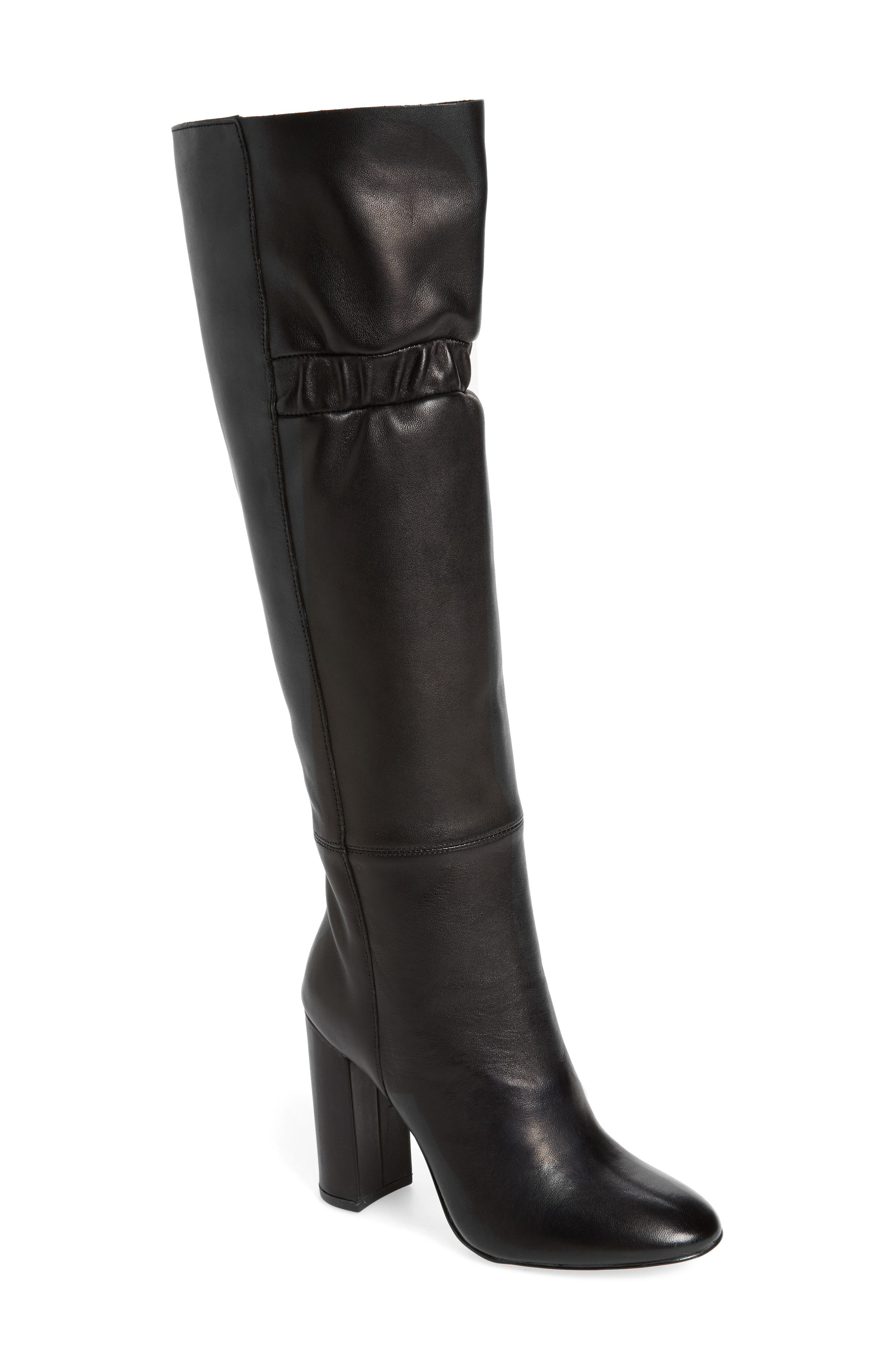 Ruby Knee High Boot,                             Main thumbnail 1, color,                             Black Leather
