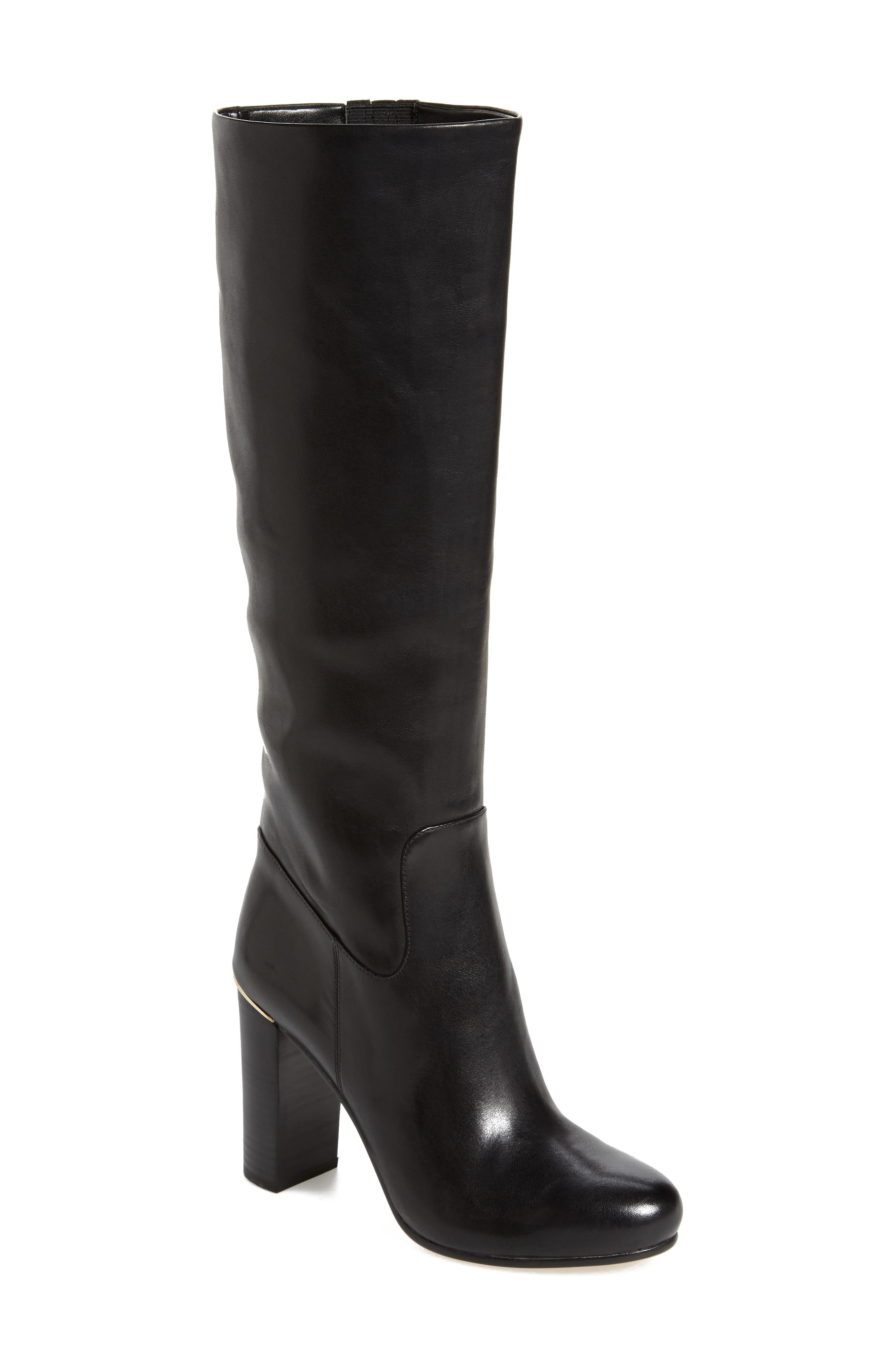 Janice Knee High Boot,                         Main,                         color, Black Calf Leather