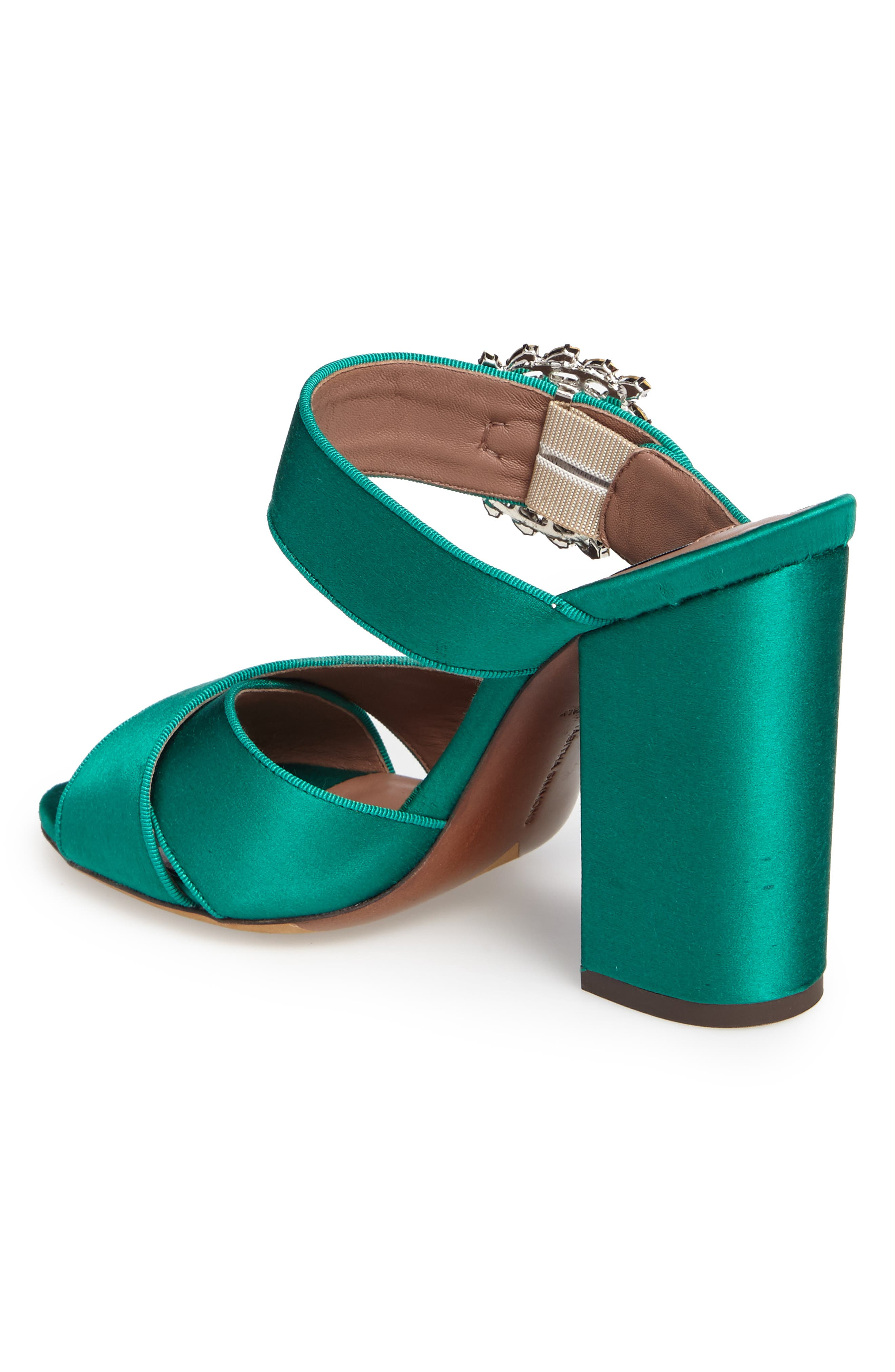 Reyner Crystal Buckle Sandal,                             Alternate thumbnail 2, color,                             Emerald Green