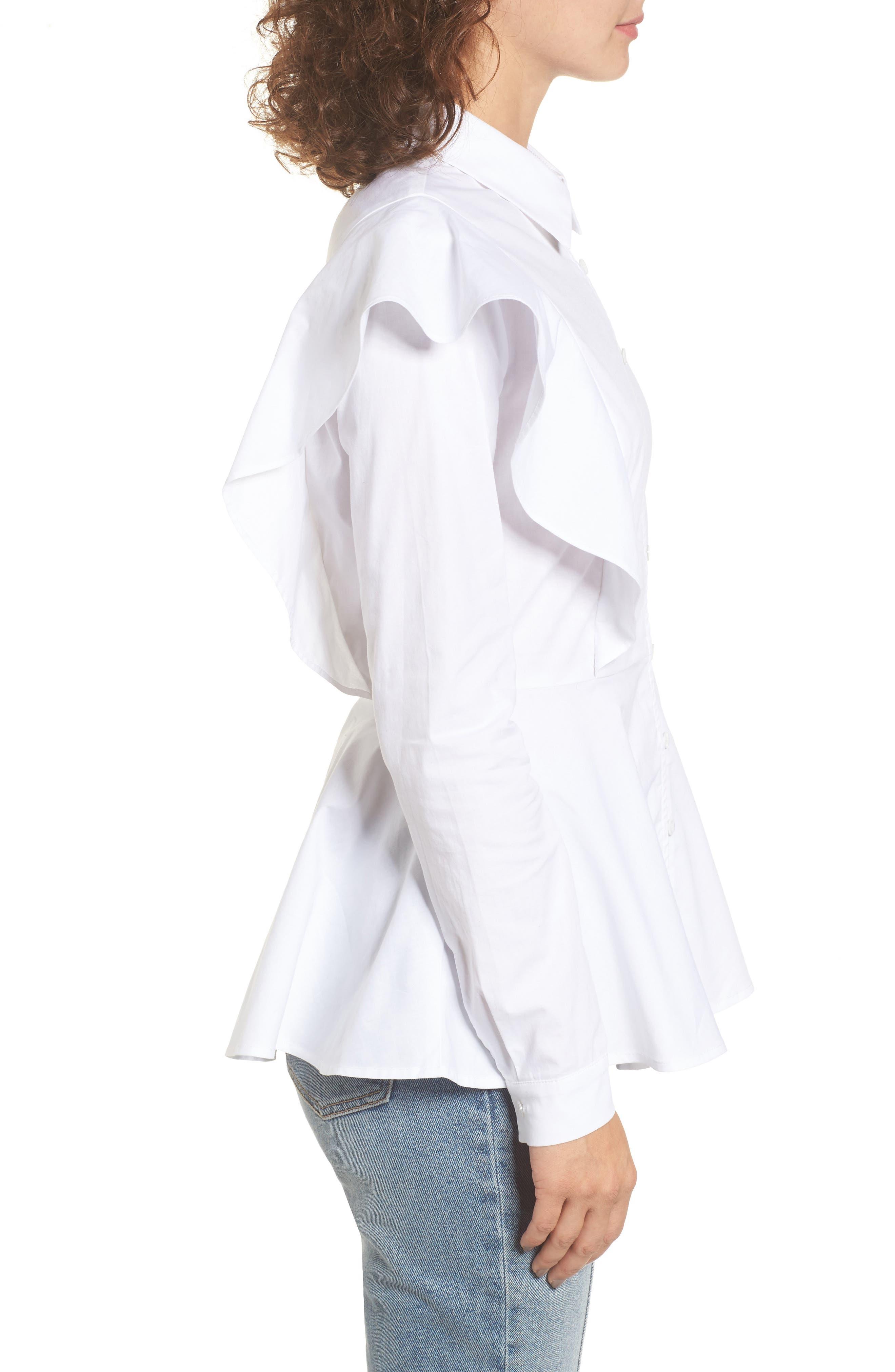 Ruffle Shoulder Peplum Top,                             Alternate thumbnail 4, color,                             White