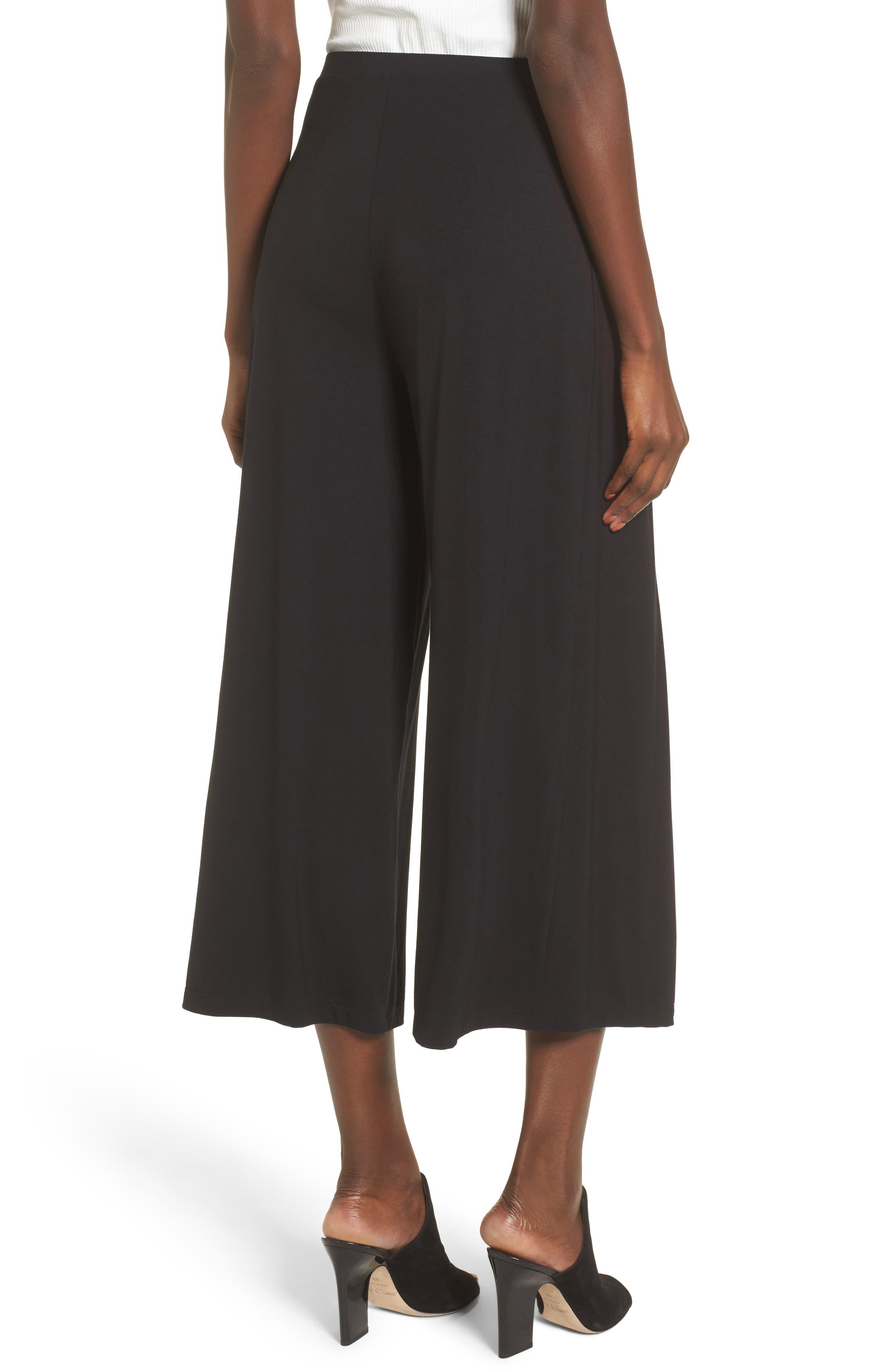 Tie Front Wide Leg Pants,                             Alternate thumbnail 2, color,                             Black